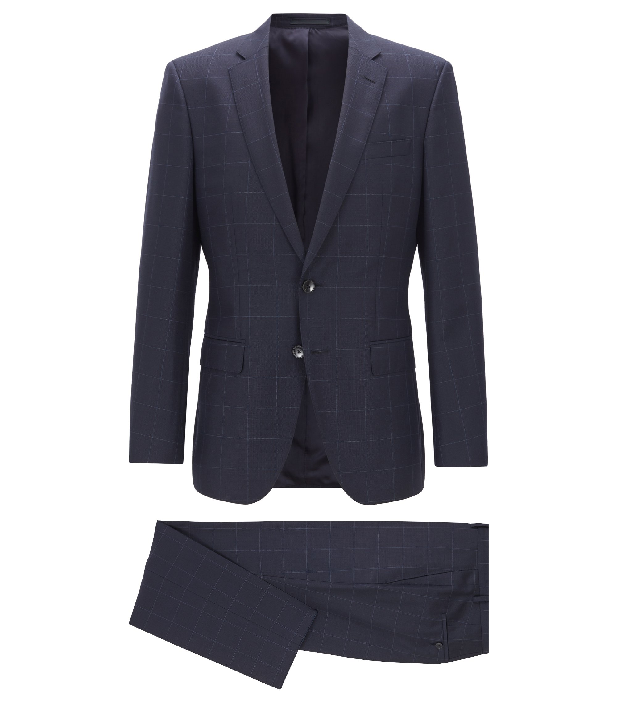 Slim-fit suit in checked virgin wool serge, Blue