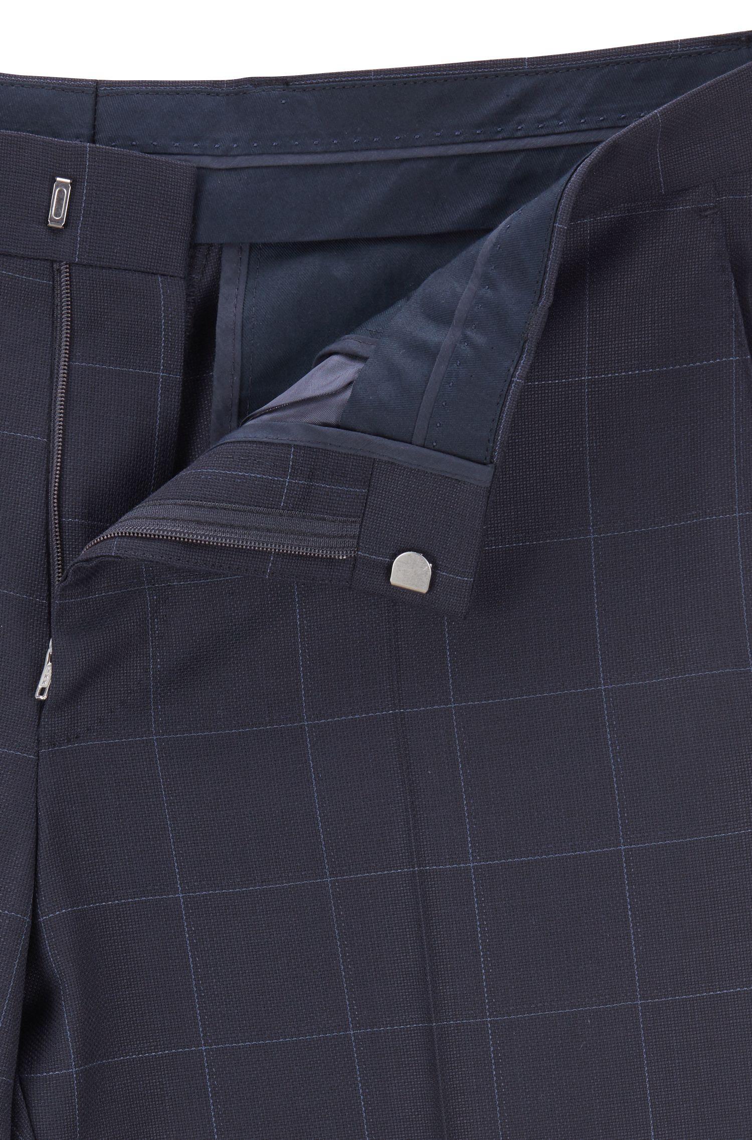 Karierter Slim-Fit Anzug aus Schurwoll-Serge, Blau
