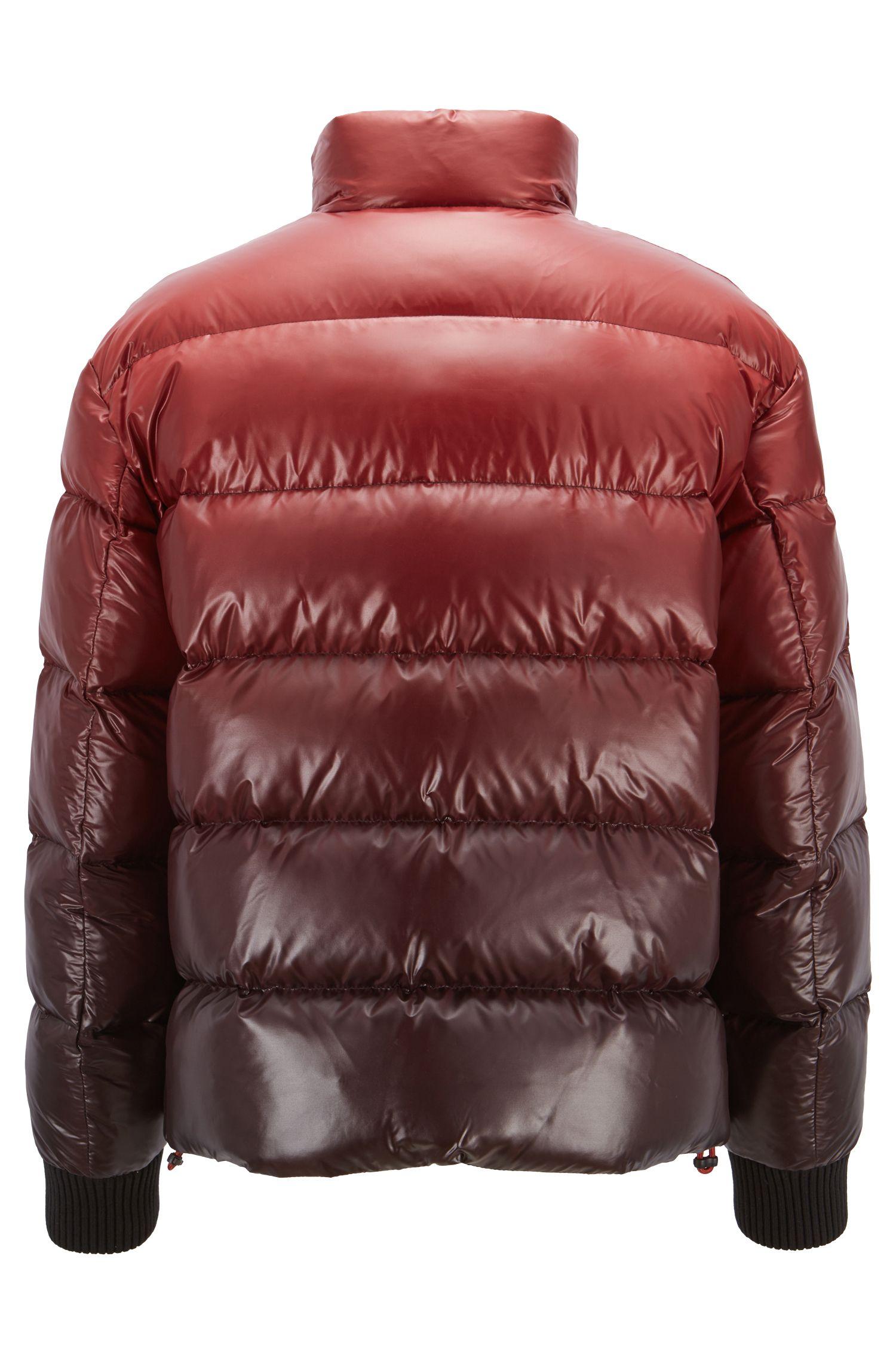 Oversized-fit donsjas van waterafstotend materiaal met ombré-effect, Donkerrood
