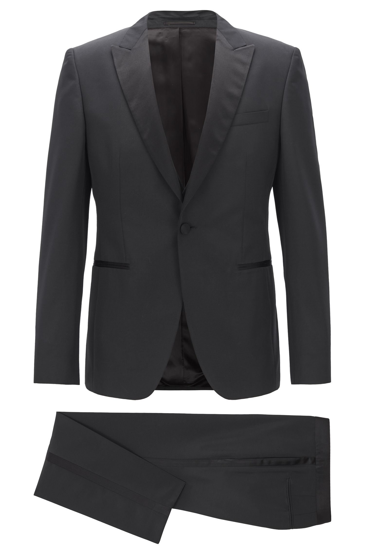 Extra-slim-fit three-piece tuxedo with silk trims, Black