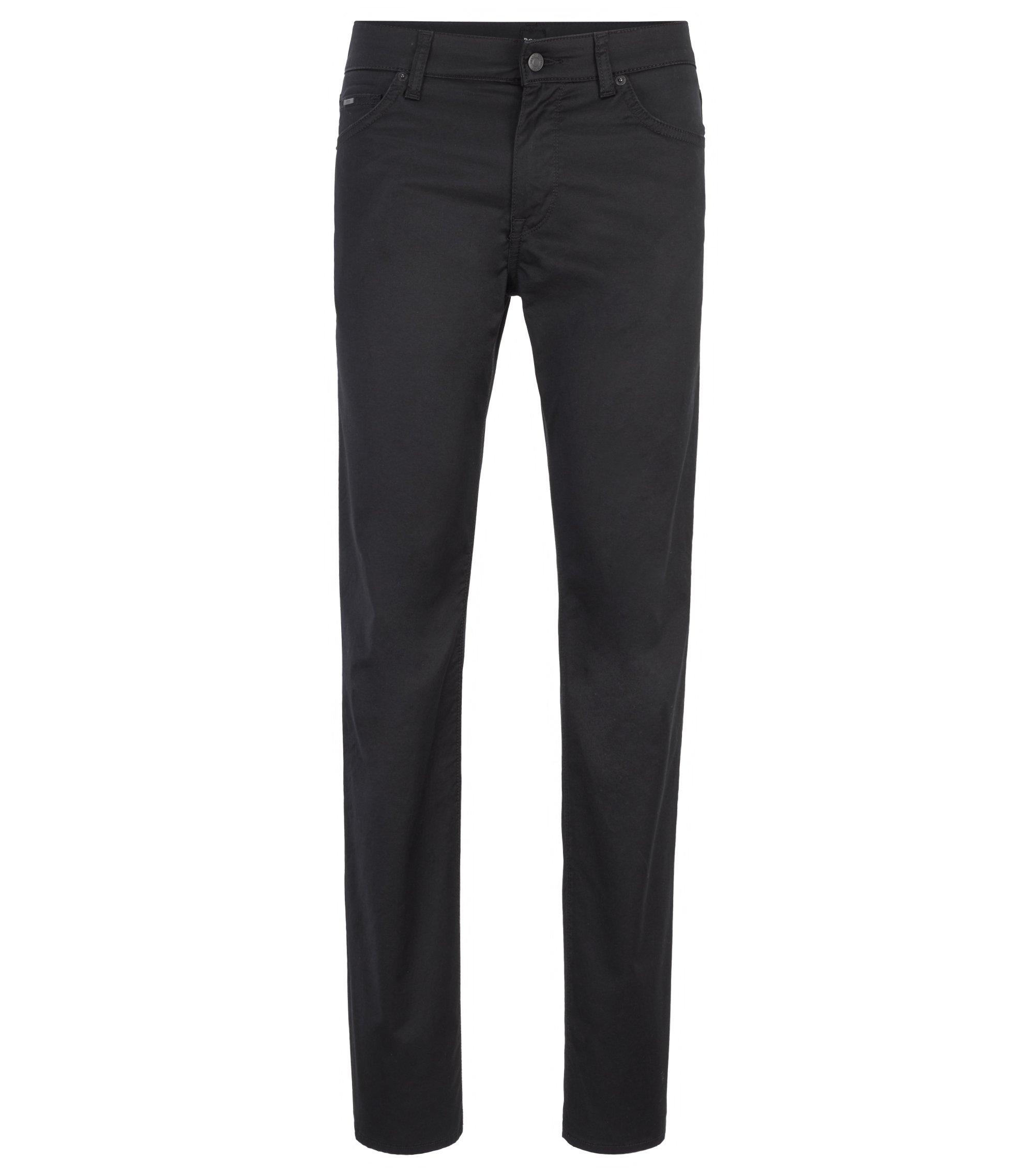 Regular-Fit Jeans aus gewaschenem Stretch-Denim, Schwarz