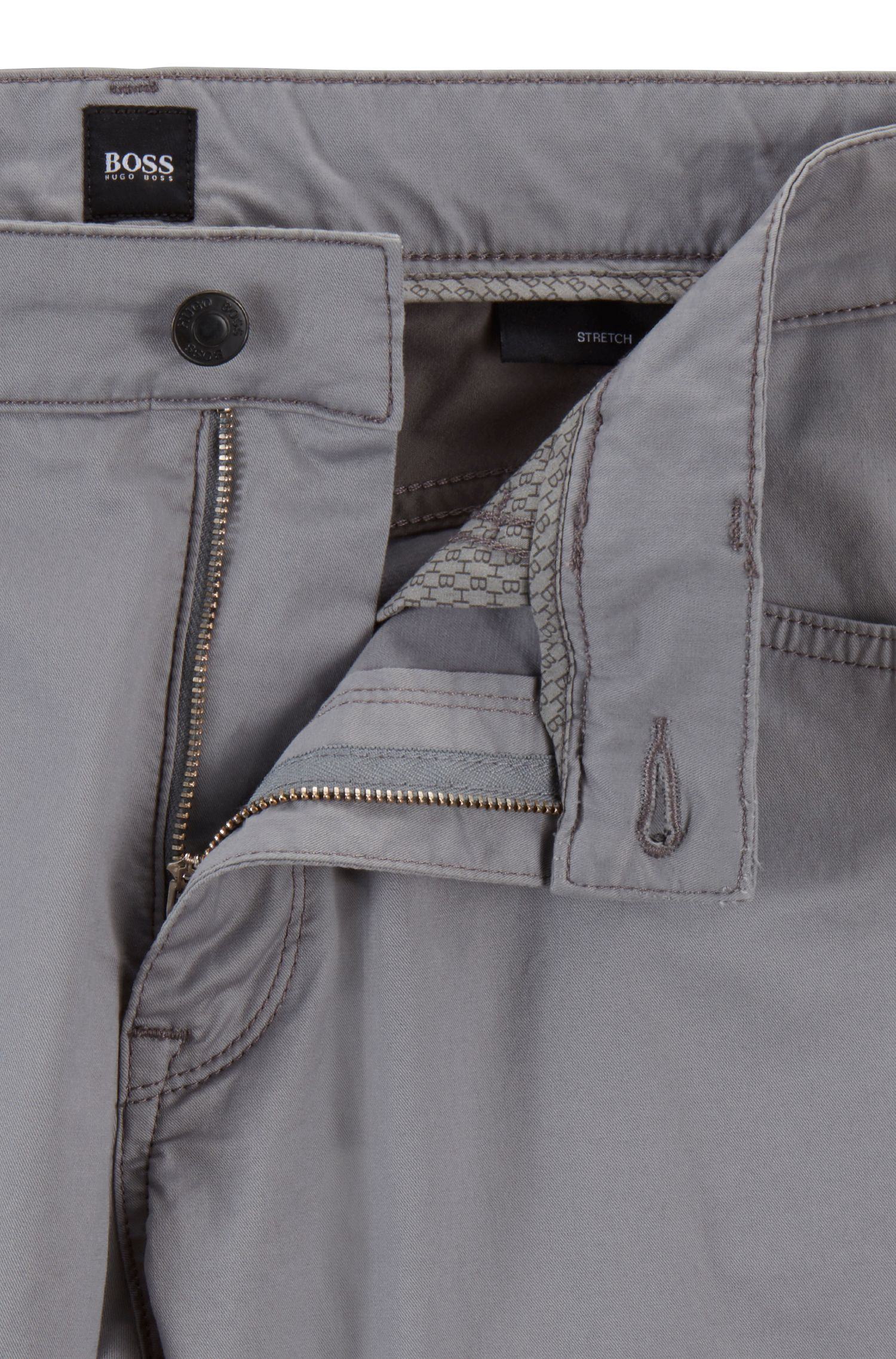 Regular-fit jeans in washed stretch denim, Silver
