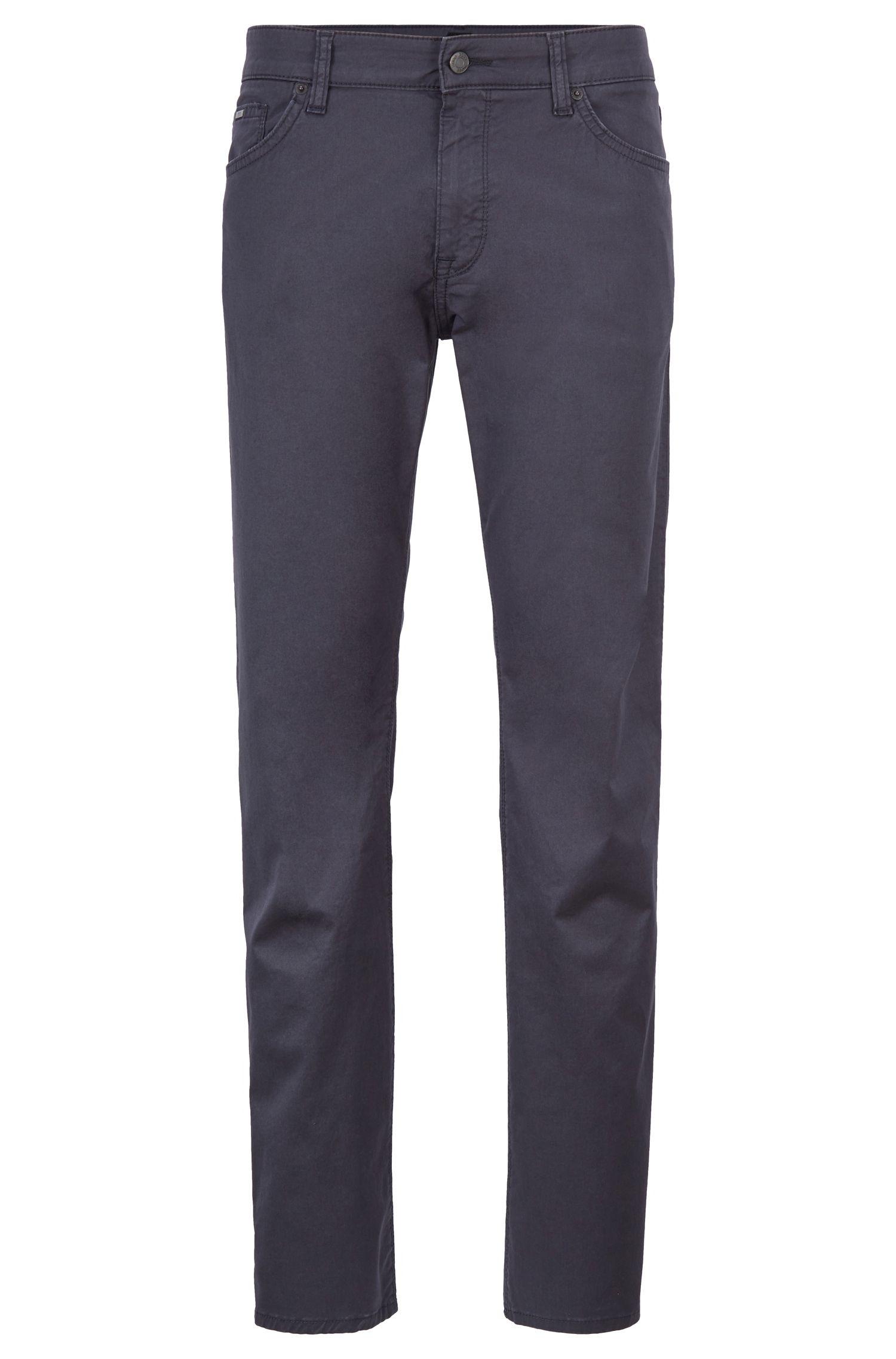Jeans regular fit in denim elasticizzato lavato, Blu scuro
