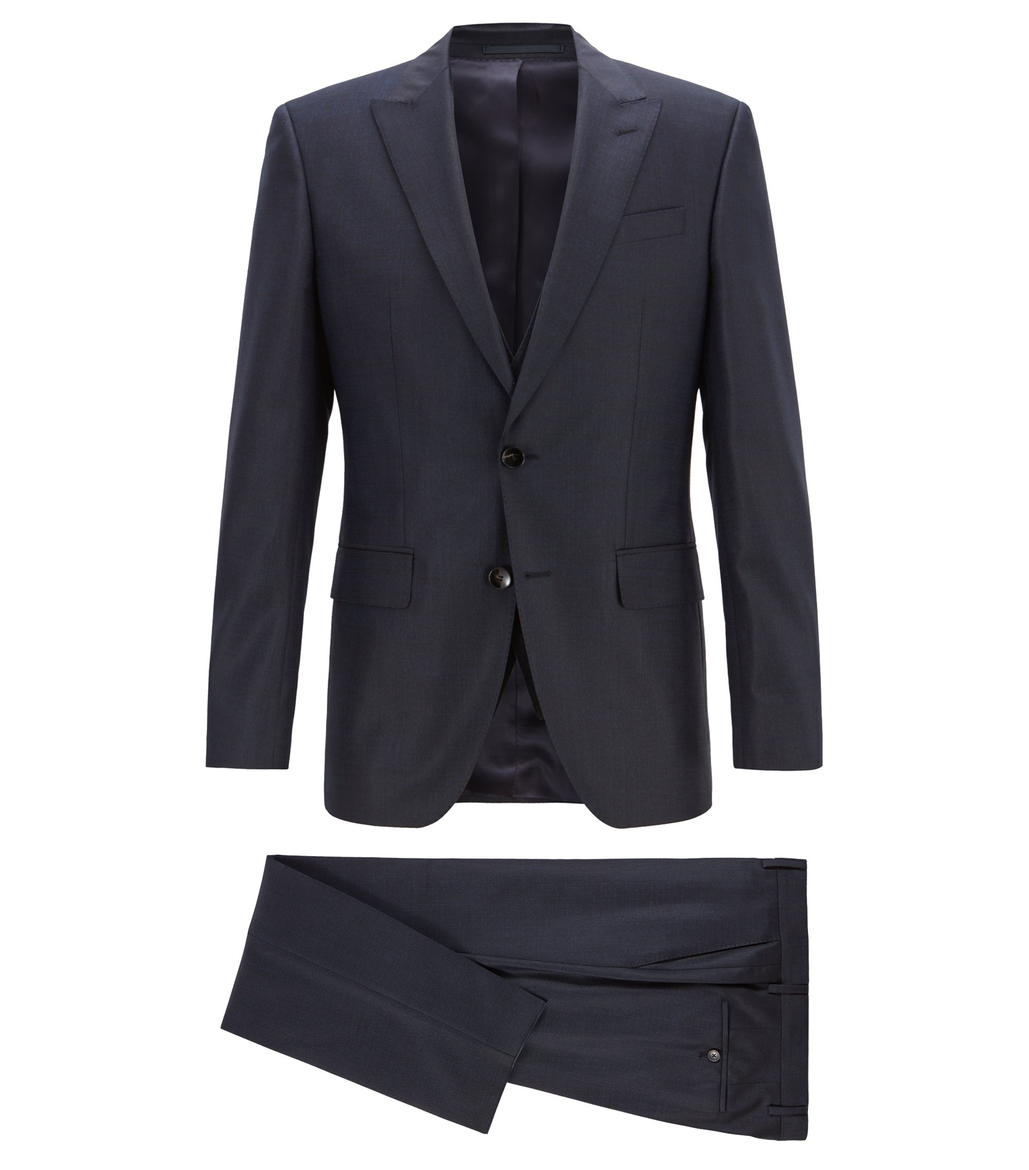 Slim-fit three-piece suit in virgin wool serge, Blue