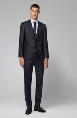 Slim-fit three-piece suit in virgin wool serge, Black