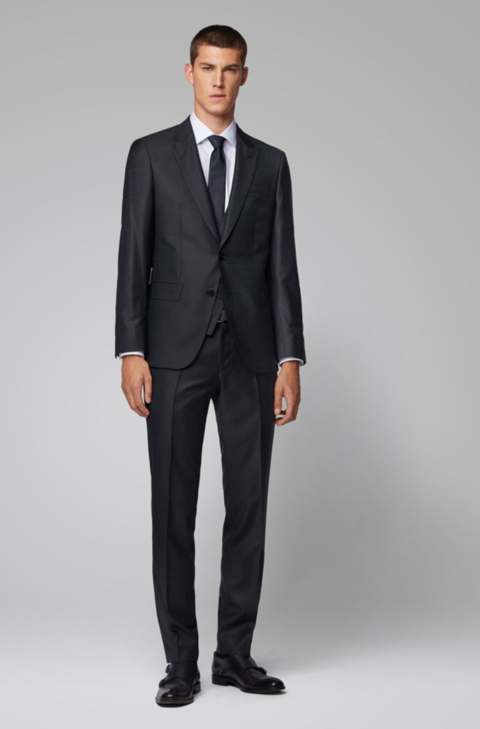Slim-fit three-piece suit in virgin wool serge