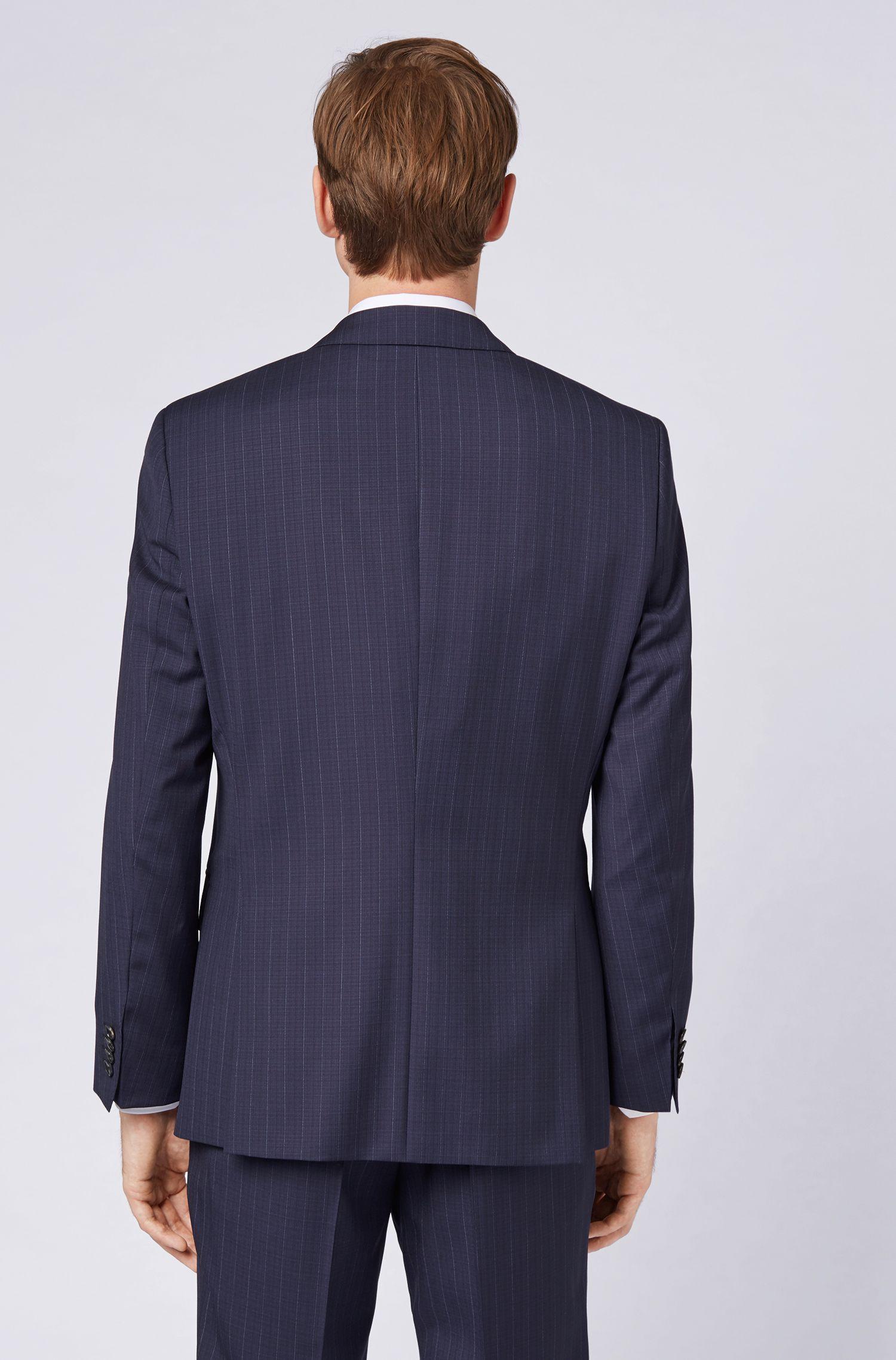 Slim-Fit Anzug aus Schurwolle mit Längsstreifen, Dunkelblau