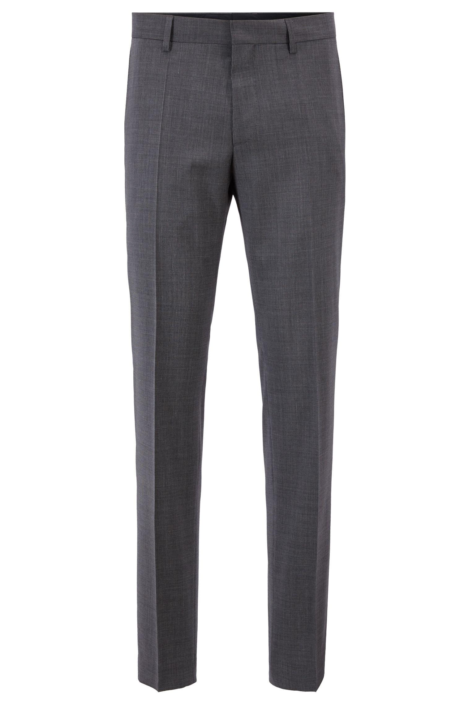Slim-fit suit in virgin wool with natural stretch, Dark Grey