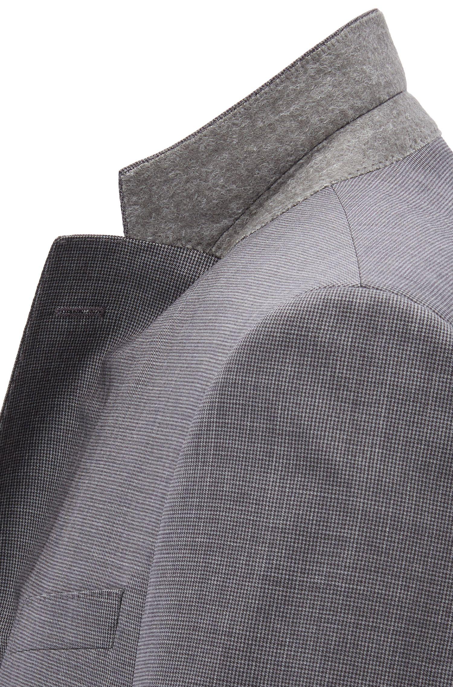 Costume Slim Fit en laine vierge naturellement stretch, Gris sombre