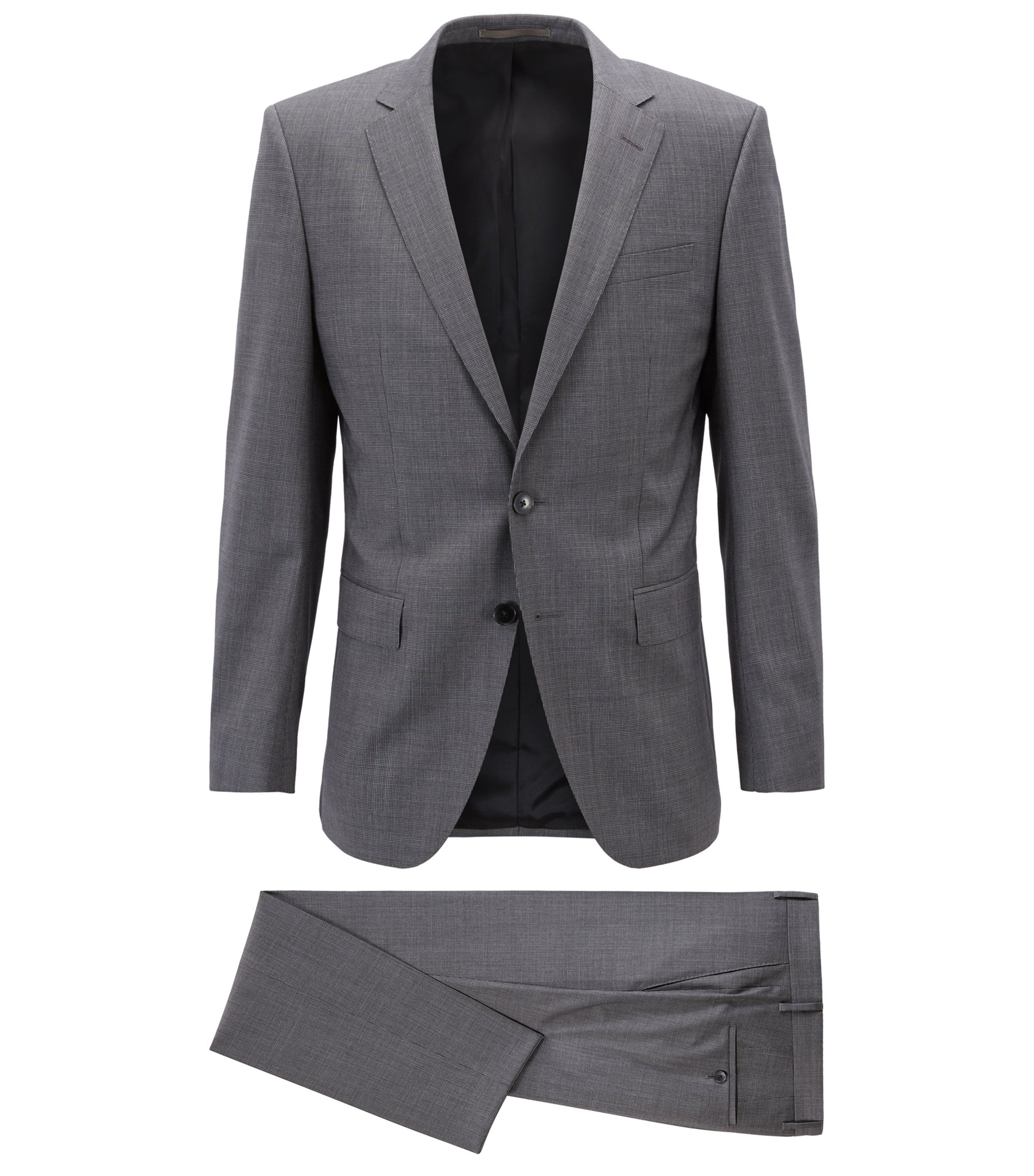 Slim-fit suit in virgin wool with natural stretch, Dark Grey