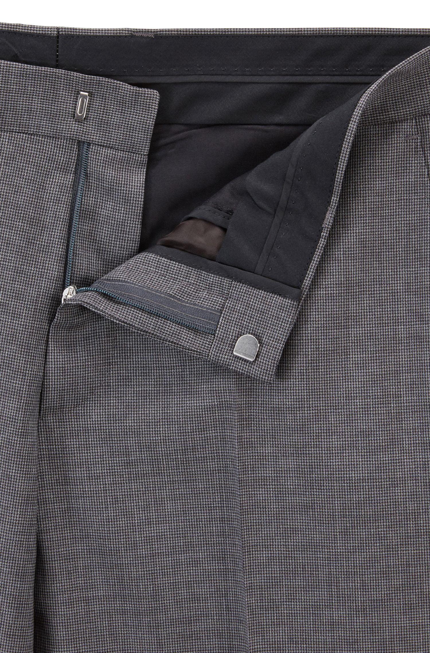 Traje slim fit en lana virgen con elástico natural, Gris oscuro