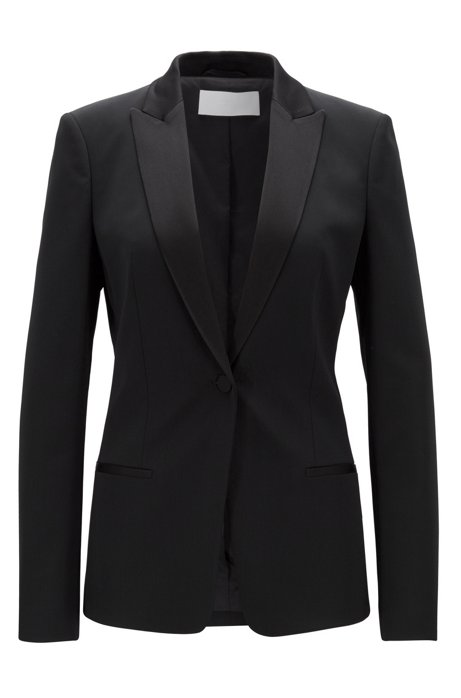 Blazer regular fit con cuello y solapas satinadas, Negro