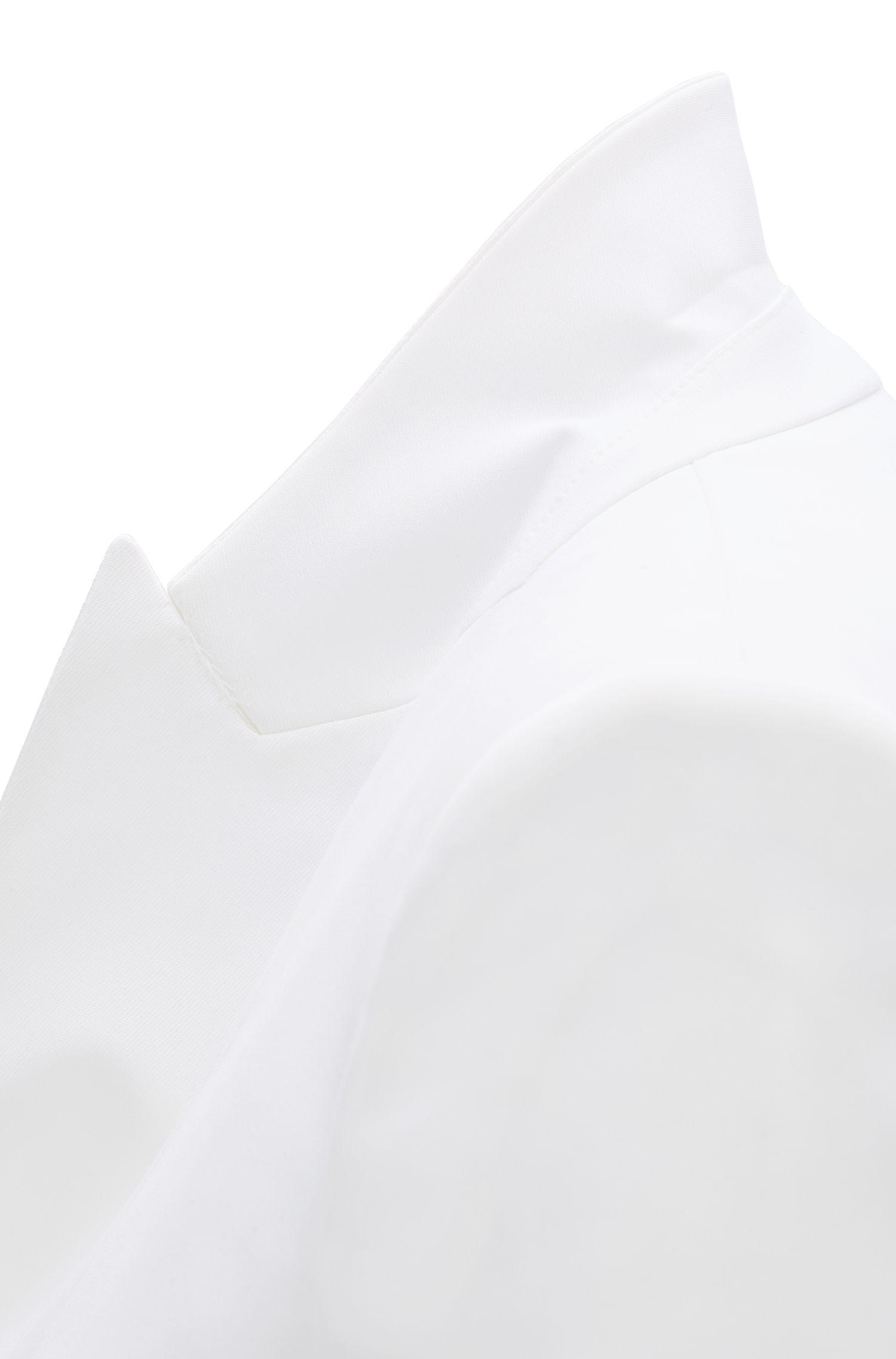Regular-Fit Blazer mit Kragen und Revers aus Satin, Natur