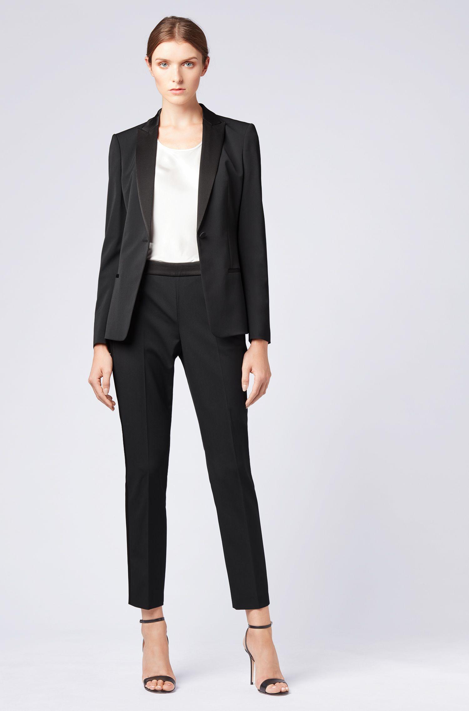 Pantalones de traje de talle alto con ribetes satinados, Negro