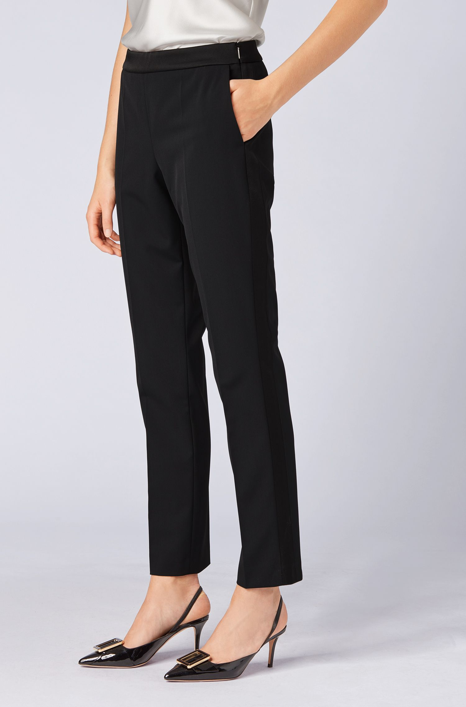 High-waisted suit trousers with satin trims, Black