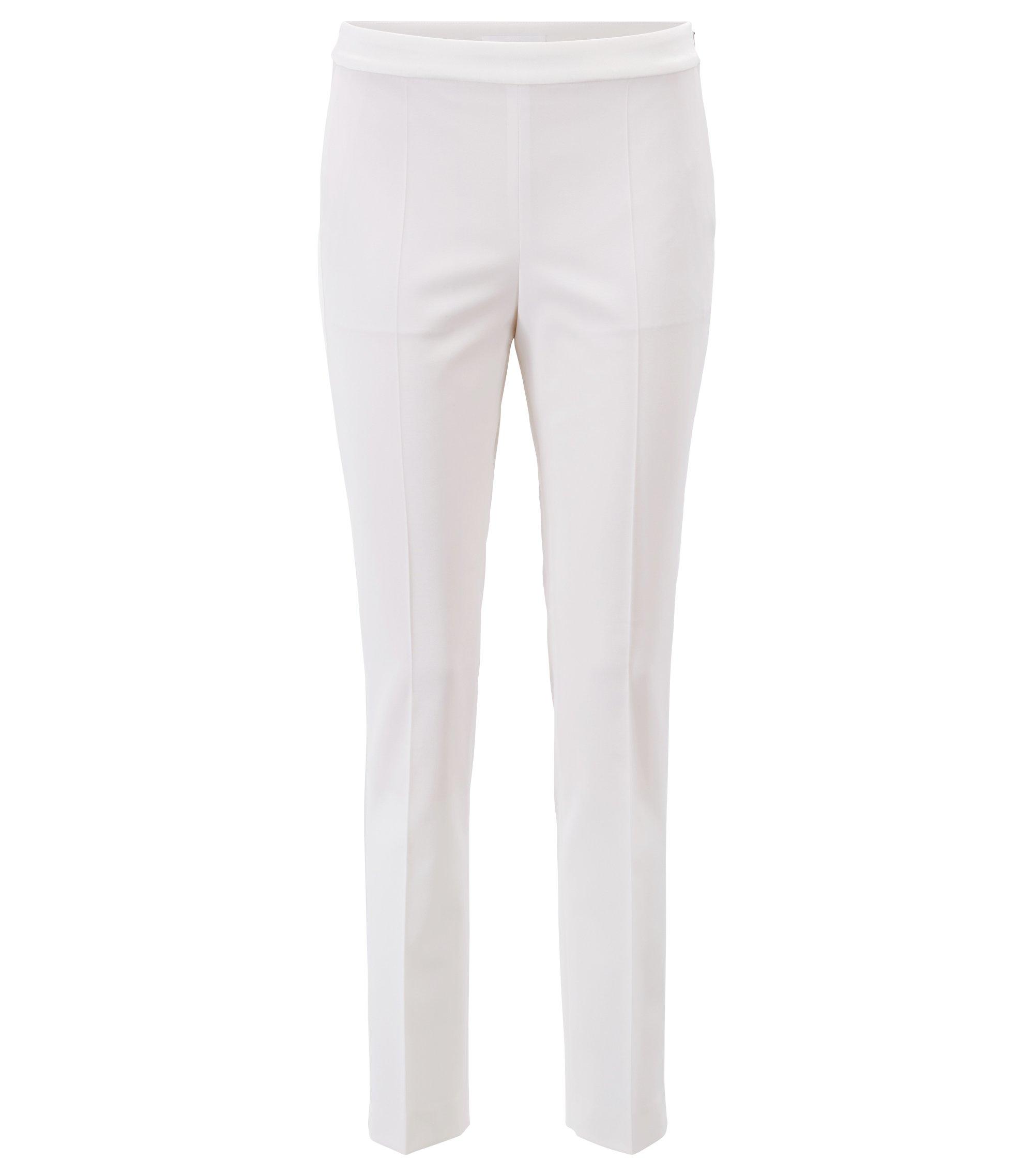 Pantaloni da abito a vita alta con guarnizioni in satin, Naturale