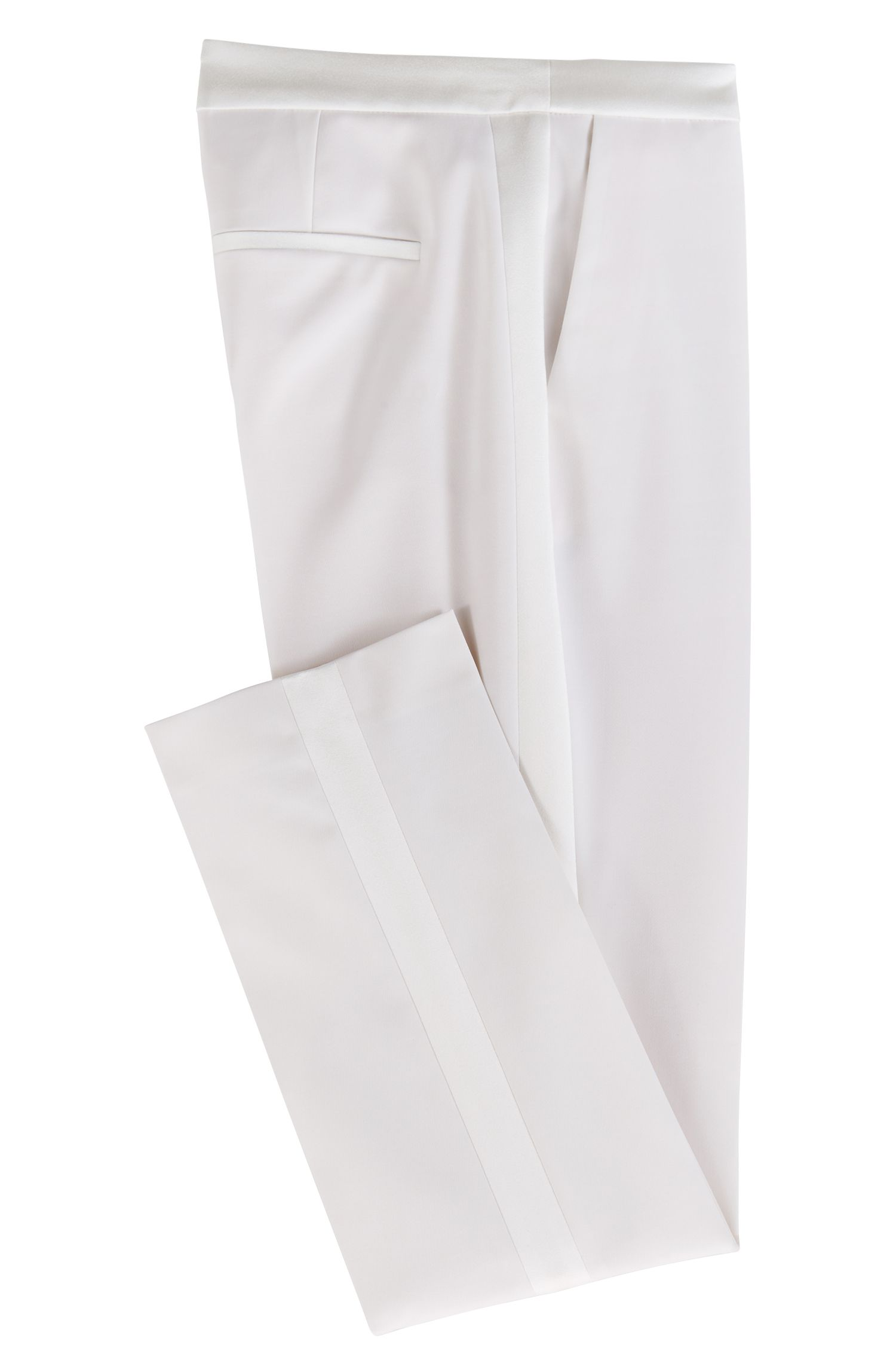 High-waisted suit trousers with satin trims, Natural