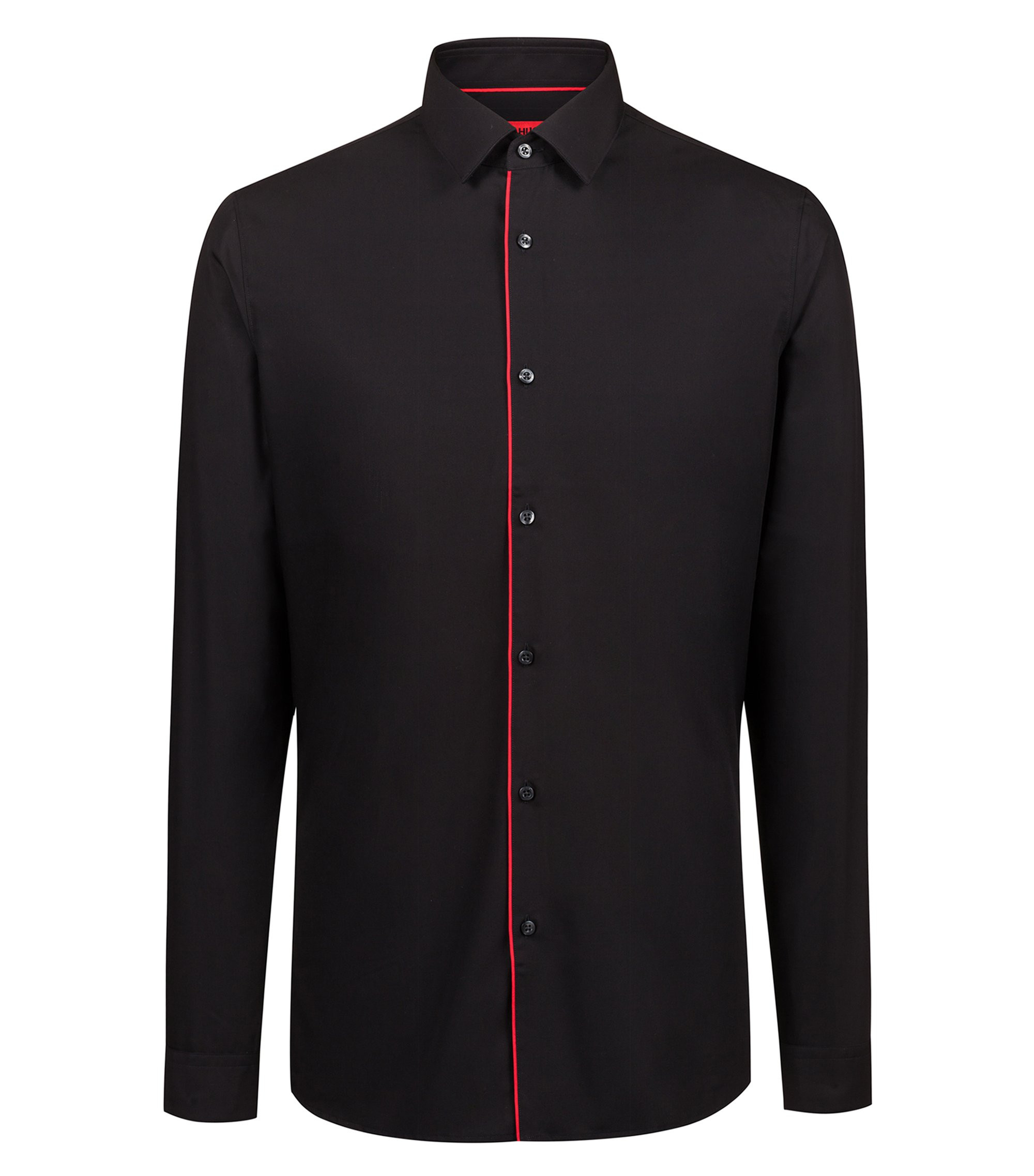 Extra-slim-fit easy-iron shirt with red piping, Schwarz