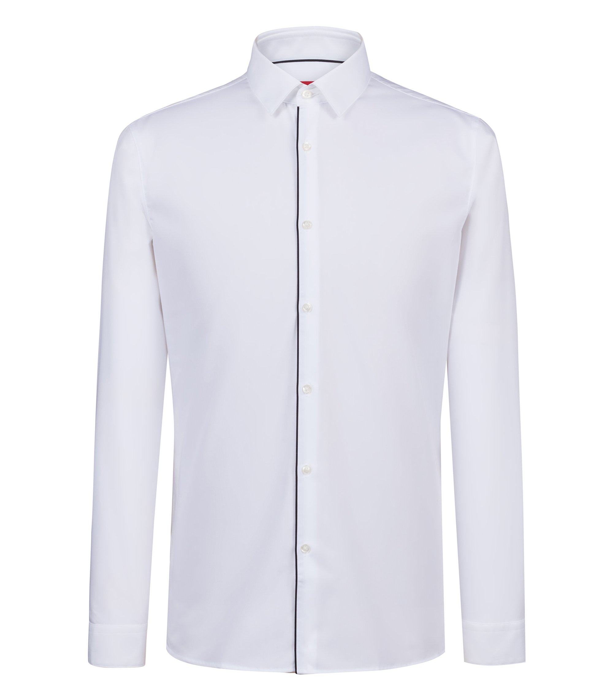 Extra-slim-fit easy-iron shirt with red piping, White