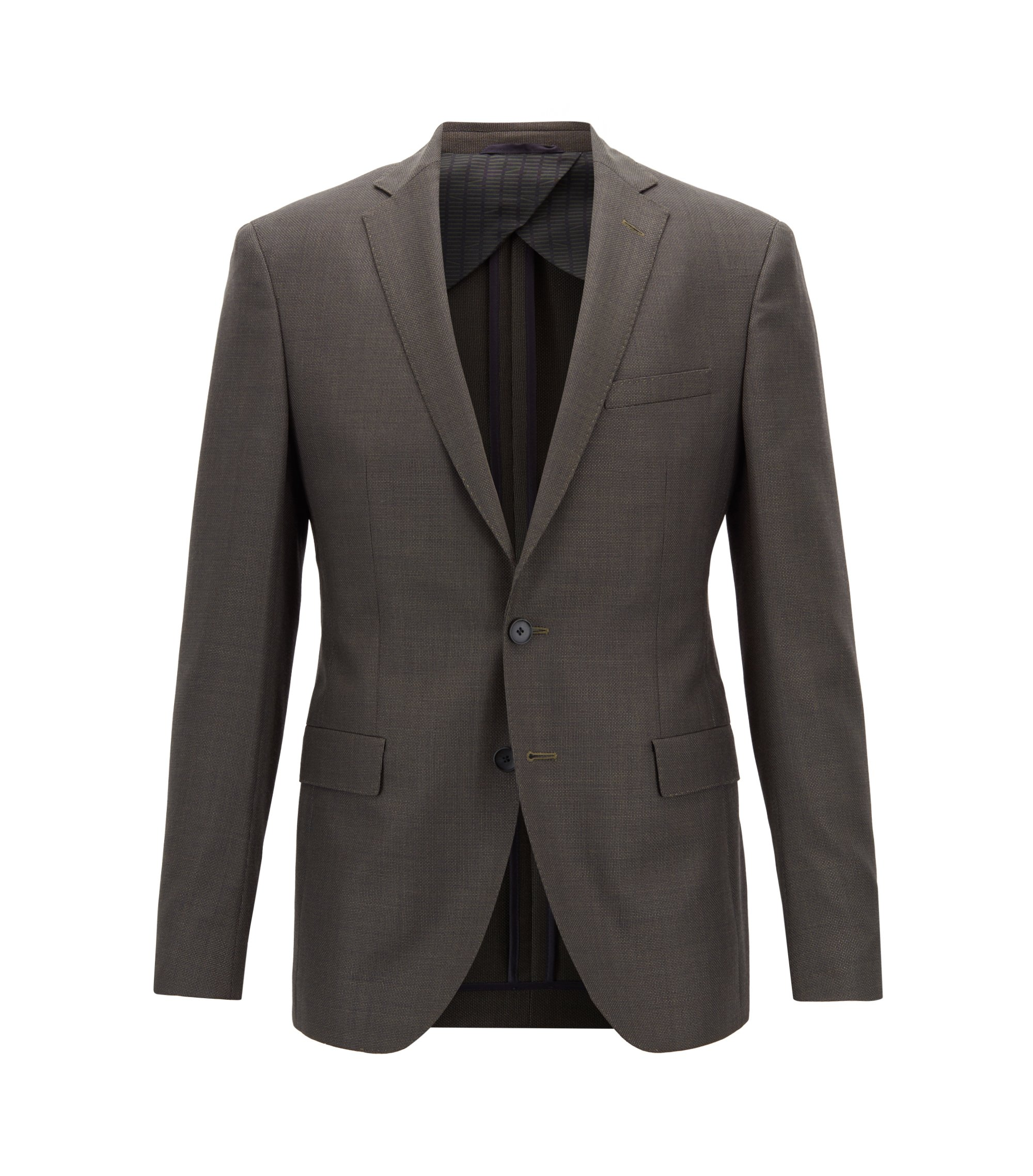 Extra-slim-fit virgin-wool blazer with micro pattern, Brown