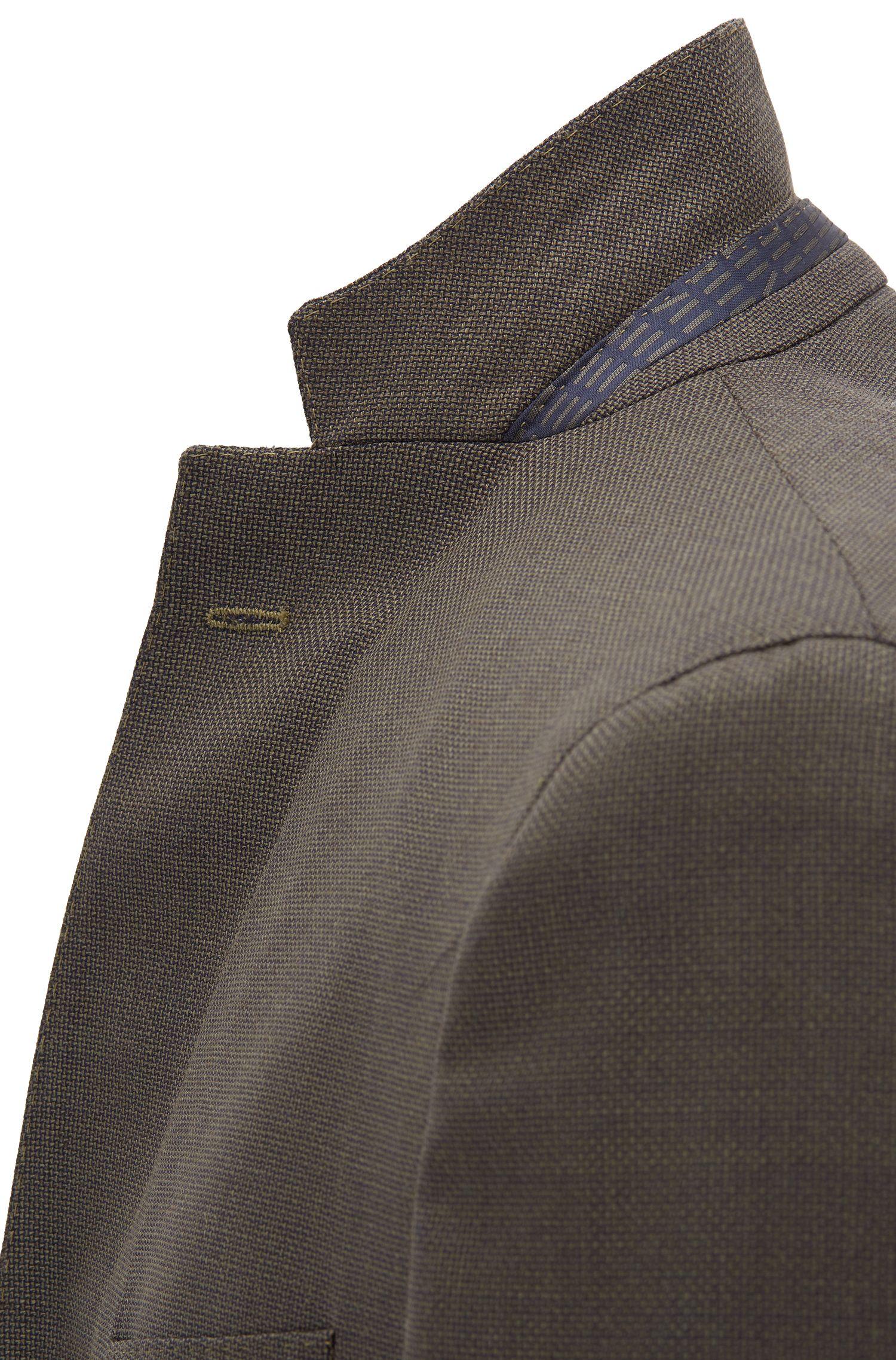 Blazer extra slim fit in lana vergine con microdisegni, Marrone