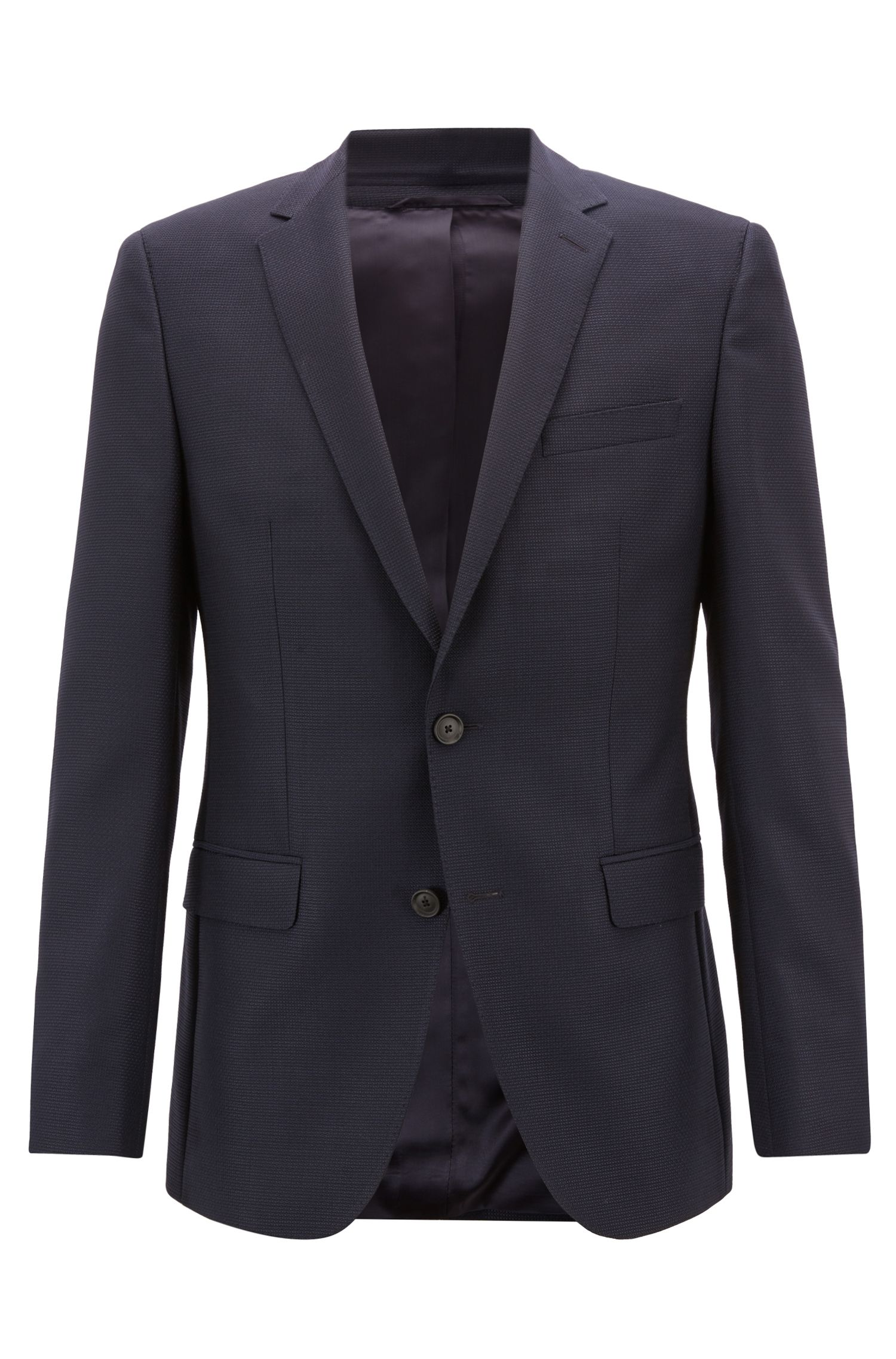 Slim-fit virgin-wool jacket with Alcantara elbow patches, Blue