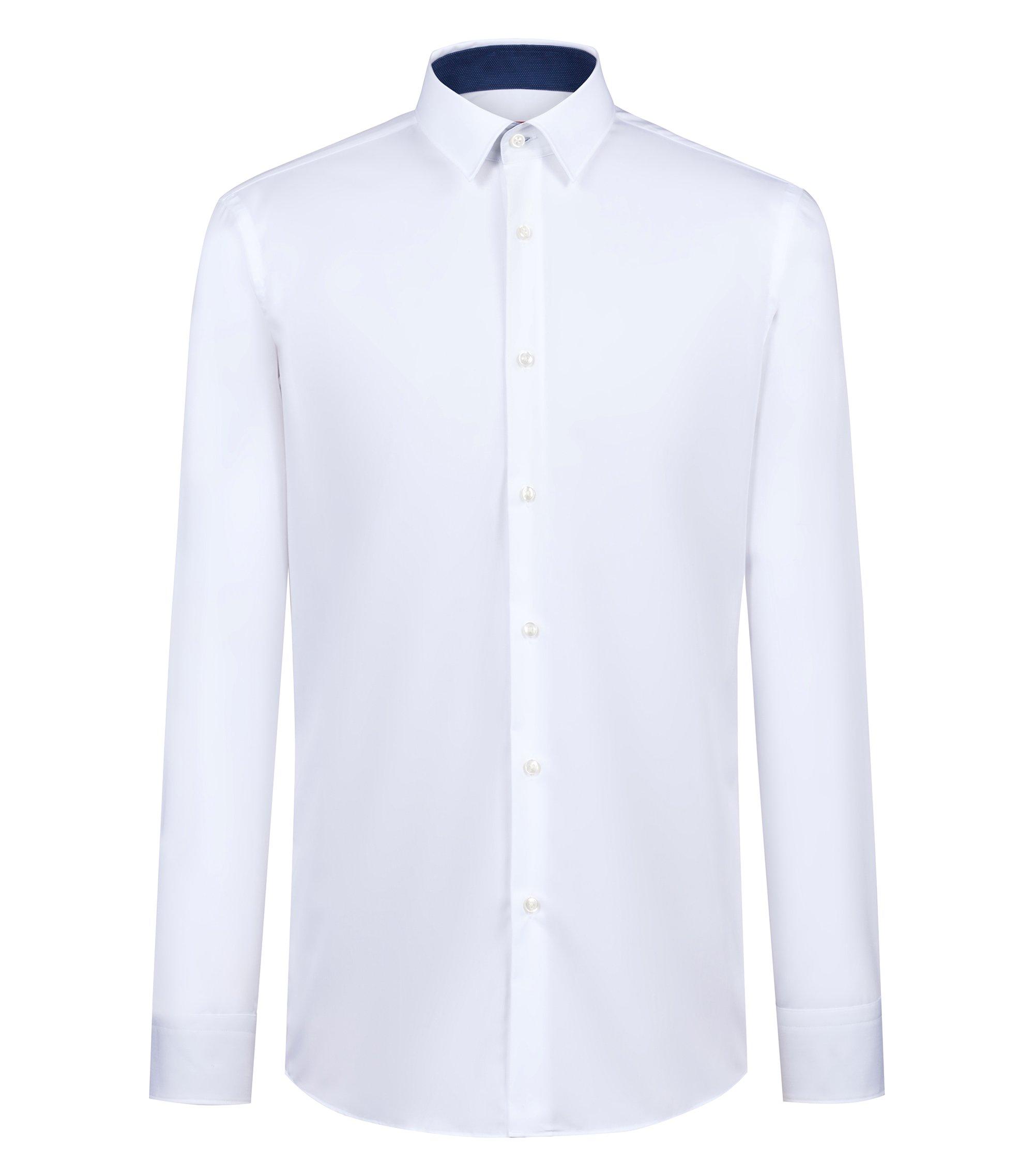 Regular-fit overhemd van katoenen popeline met contrastdetails, Wit
