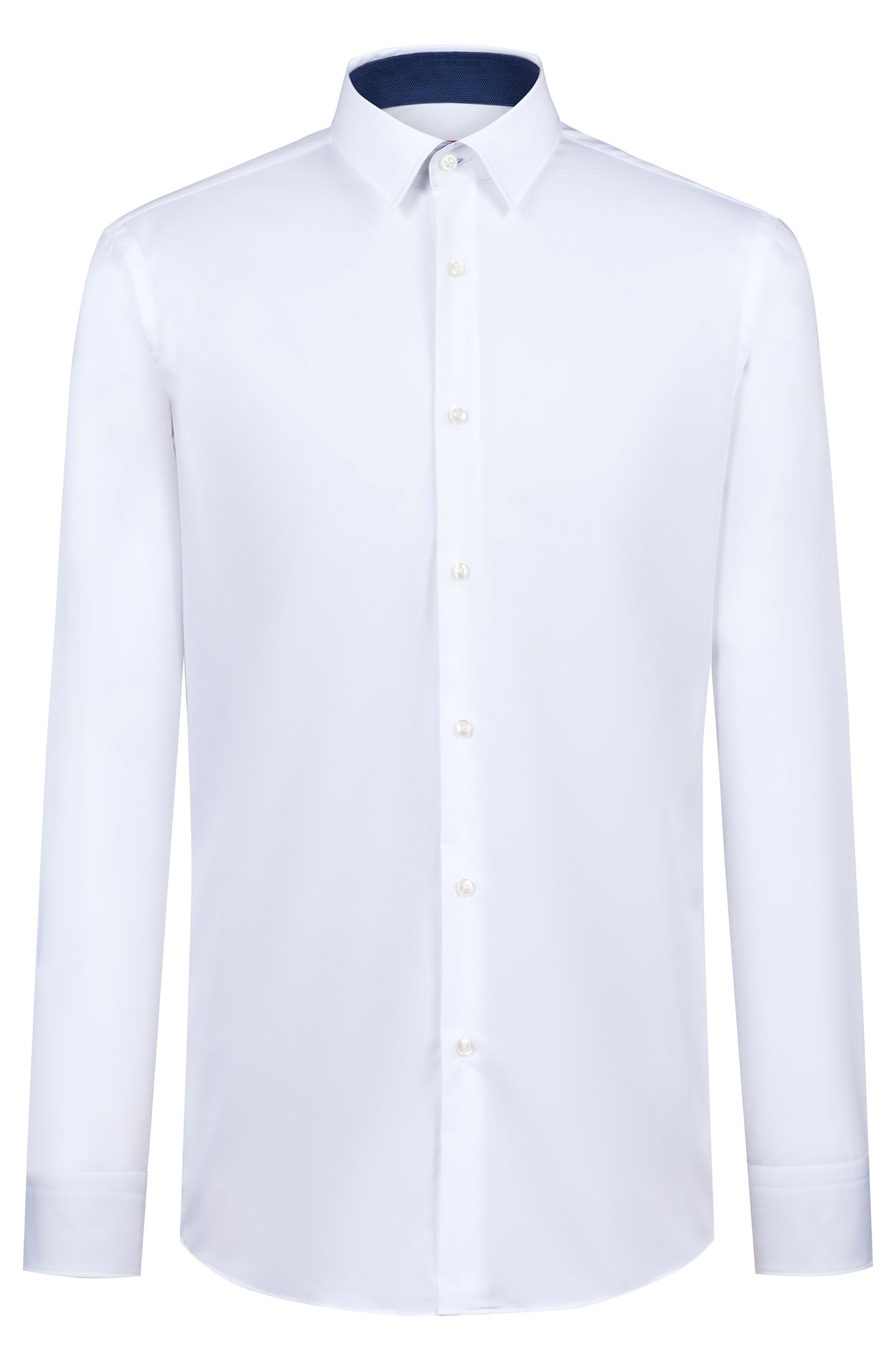 Regular-fit shirt in cotton poplin with contrast trims, White