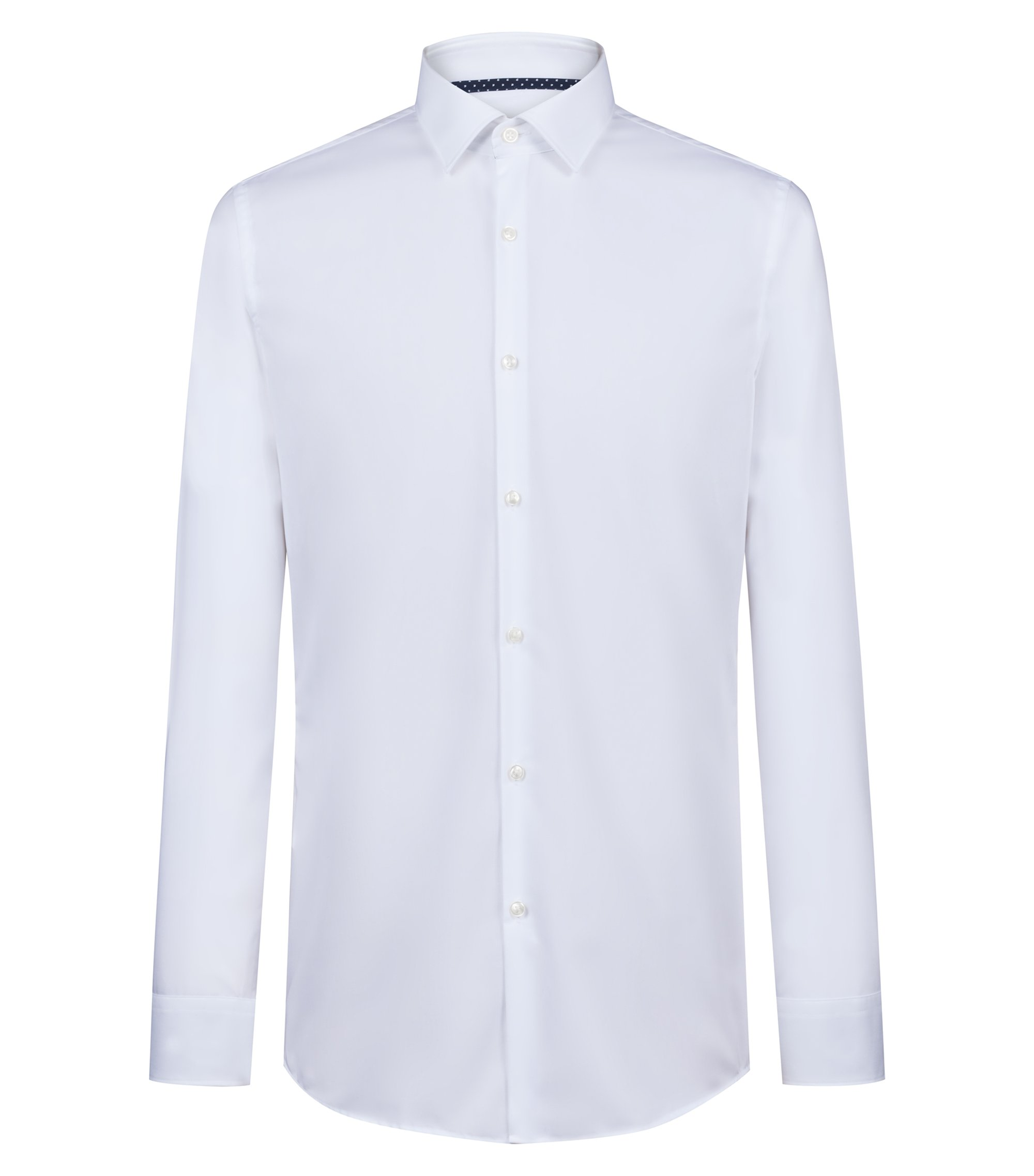 Slim-fit shirt in cotton poplin with contrast trims, Open White