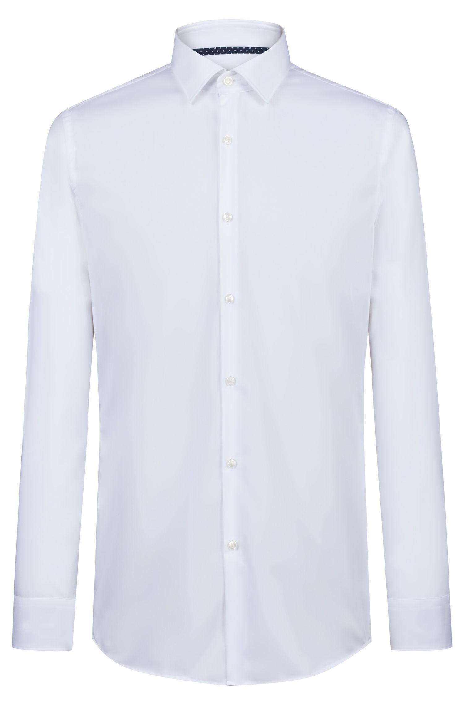 Slim-Fit Hemd aus Baumwoll-Popeline mit Kontrast-Details, Weiß