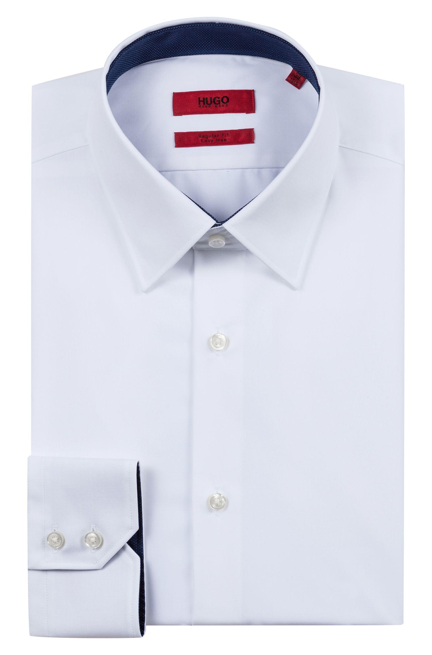 Slim-fit overhemd van katoenen popeline met contrastdetails, Wit