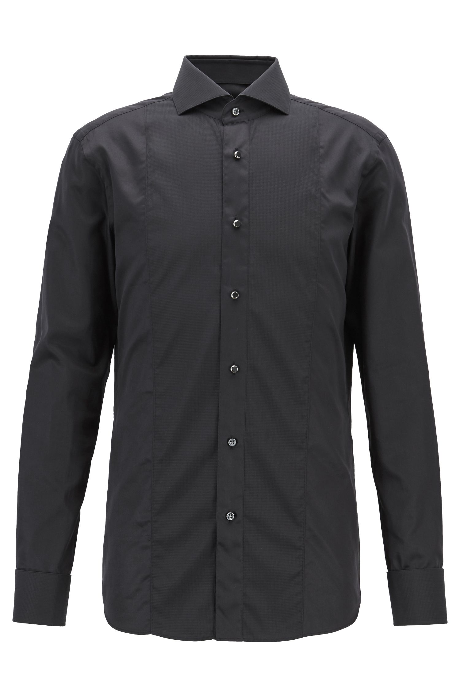 Tailored Slim-Fit Hemd aus Baumwolle mit strukturiertem Einsatz, Schwarz