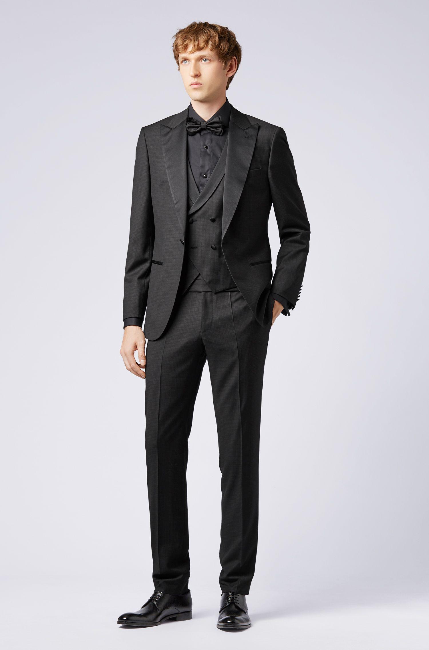 Camisa de traje slim fit con panel delantero con textura, Negro