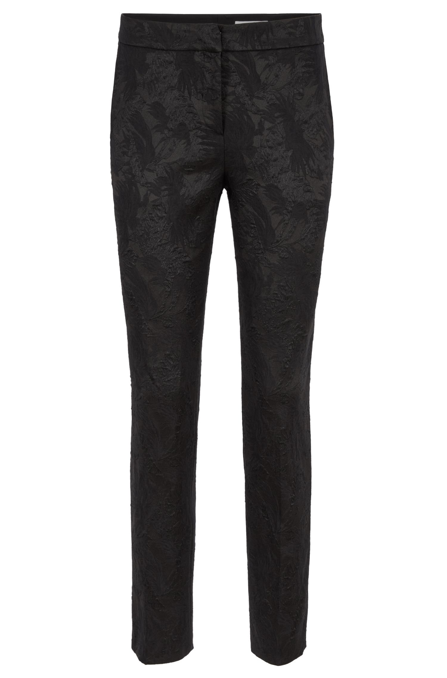 Regular-fit cropped trousers in Italian floral jacquard, Black