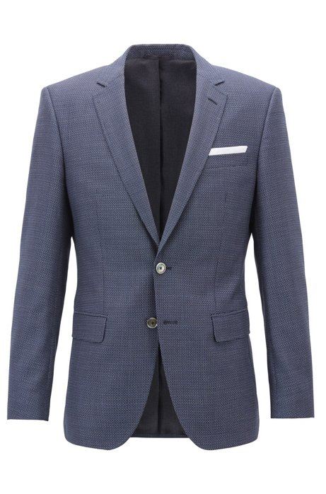fa4710b64b BOSS - Blazer slim fit in lana vergine mélange