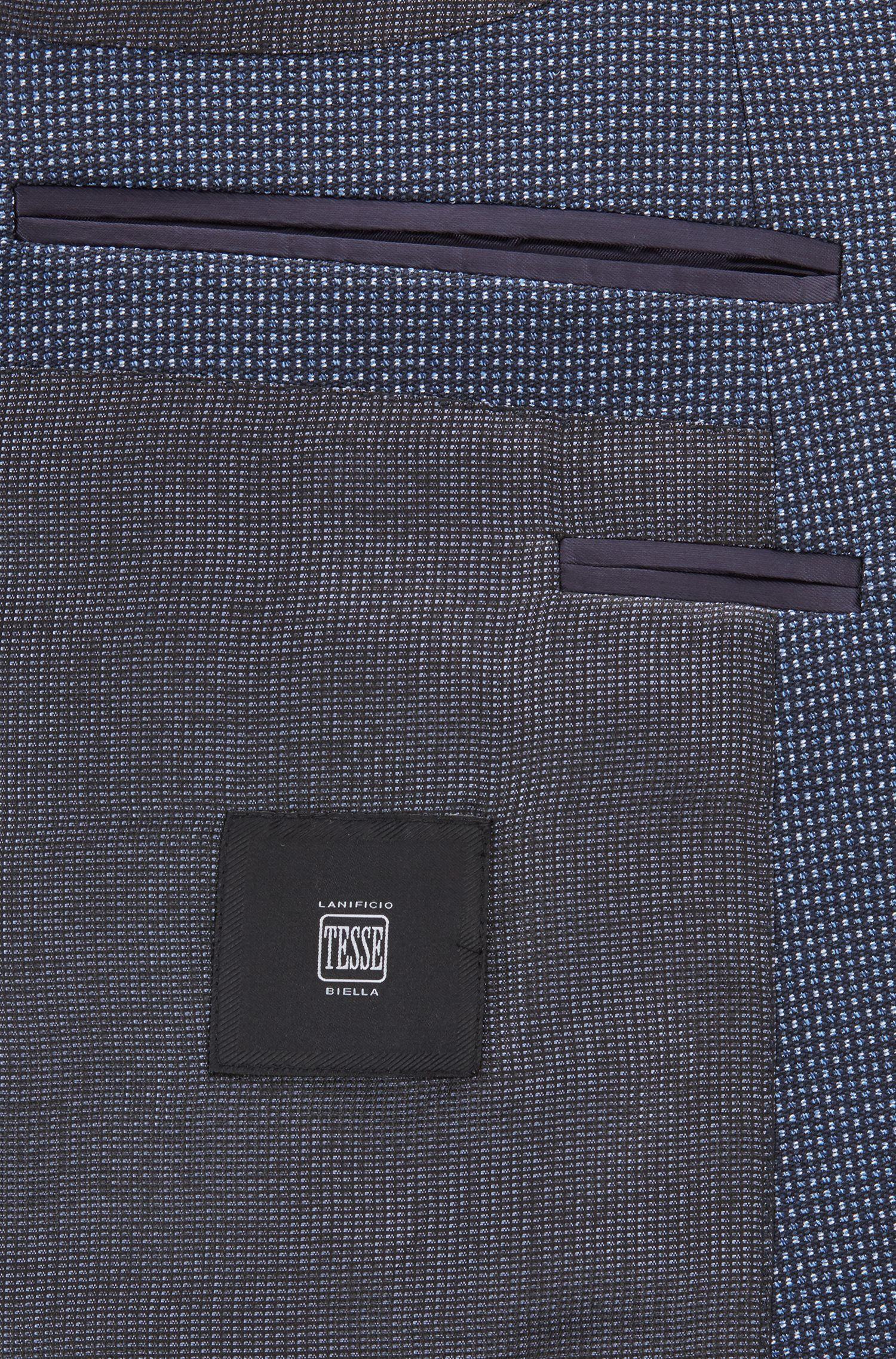 Blazer slim fit en lana virgen jaspeada, Azul