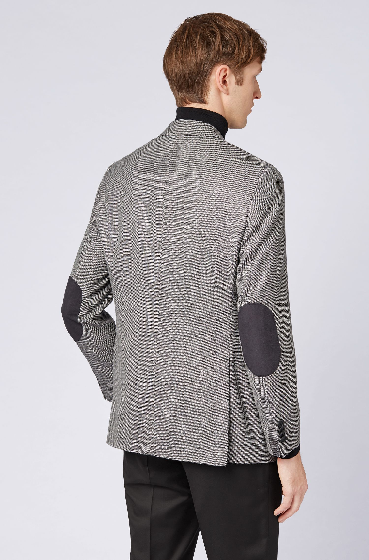Slim-fit jacket with Alcantara elbow patches, Silver