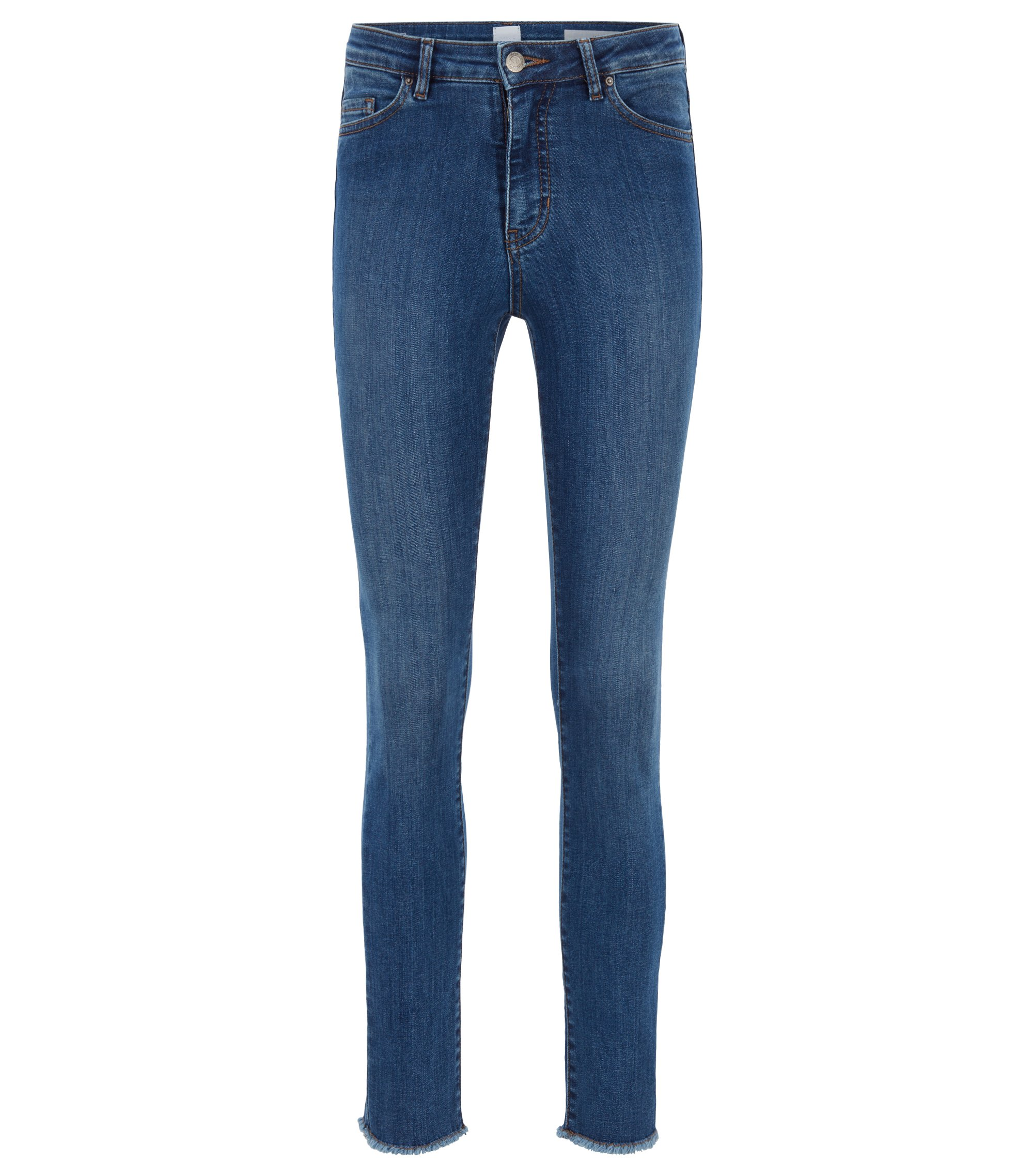 Skinny-fit cropped jeans in blue power-stretch denim, Blue
