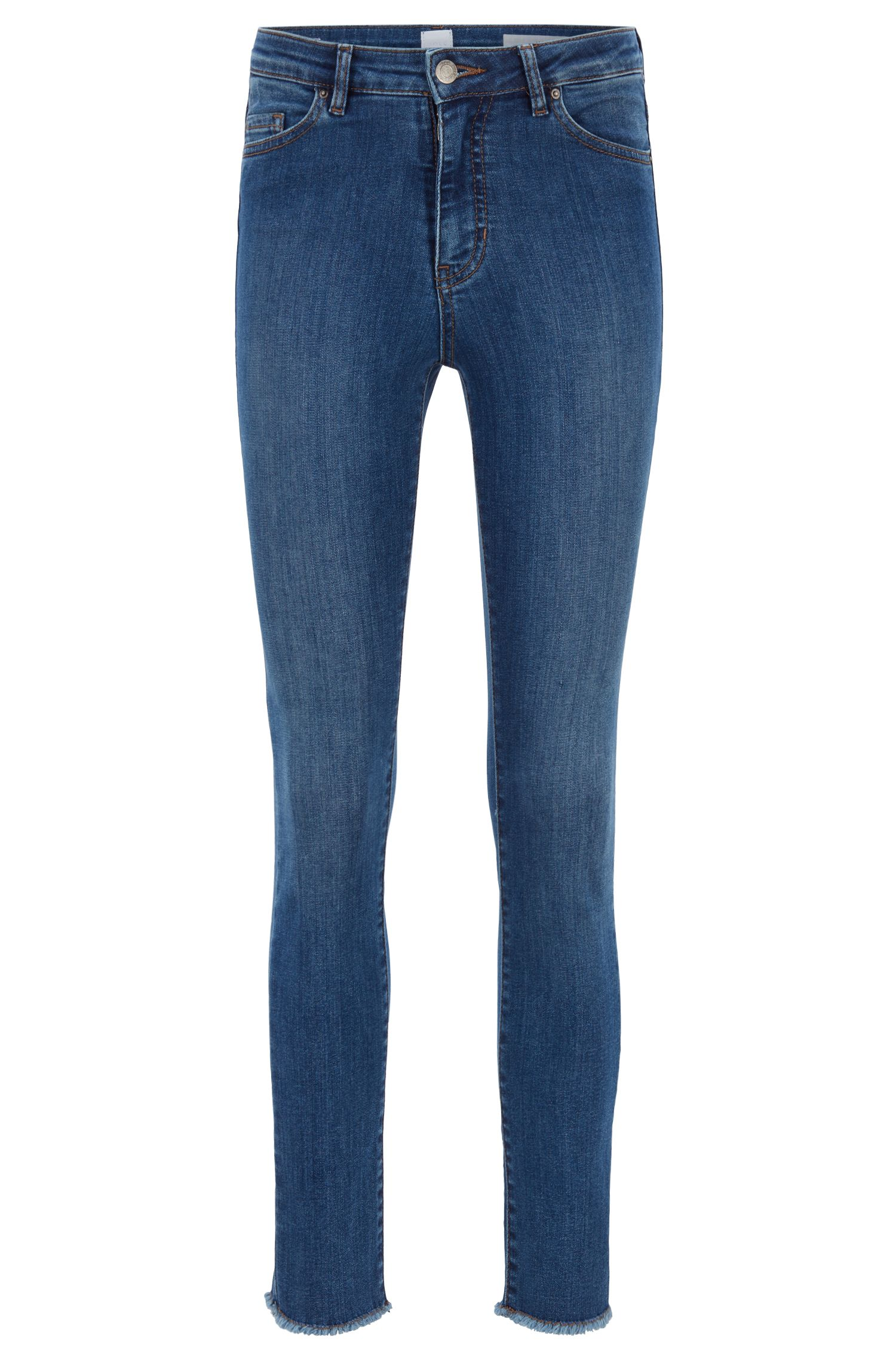 Jeans skinny fit alla caviglia in denim blu super-elasticizzato, Blu