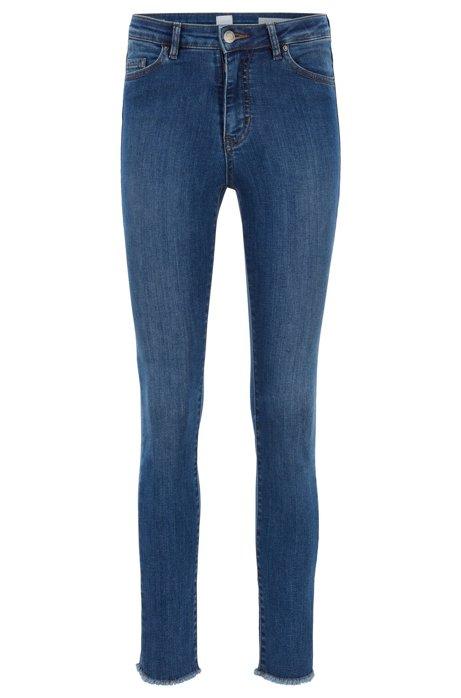 Kortere skinny-fit jeans van blauw power-stretchdenim, Blauw