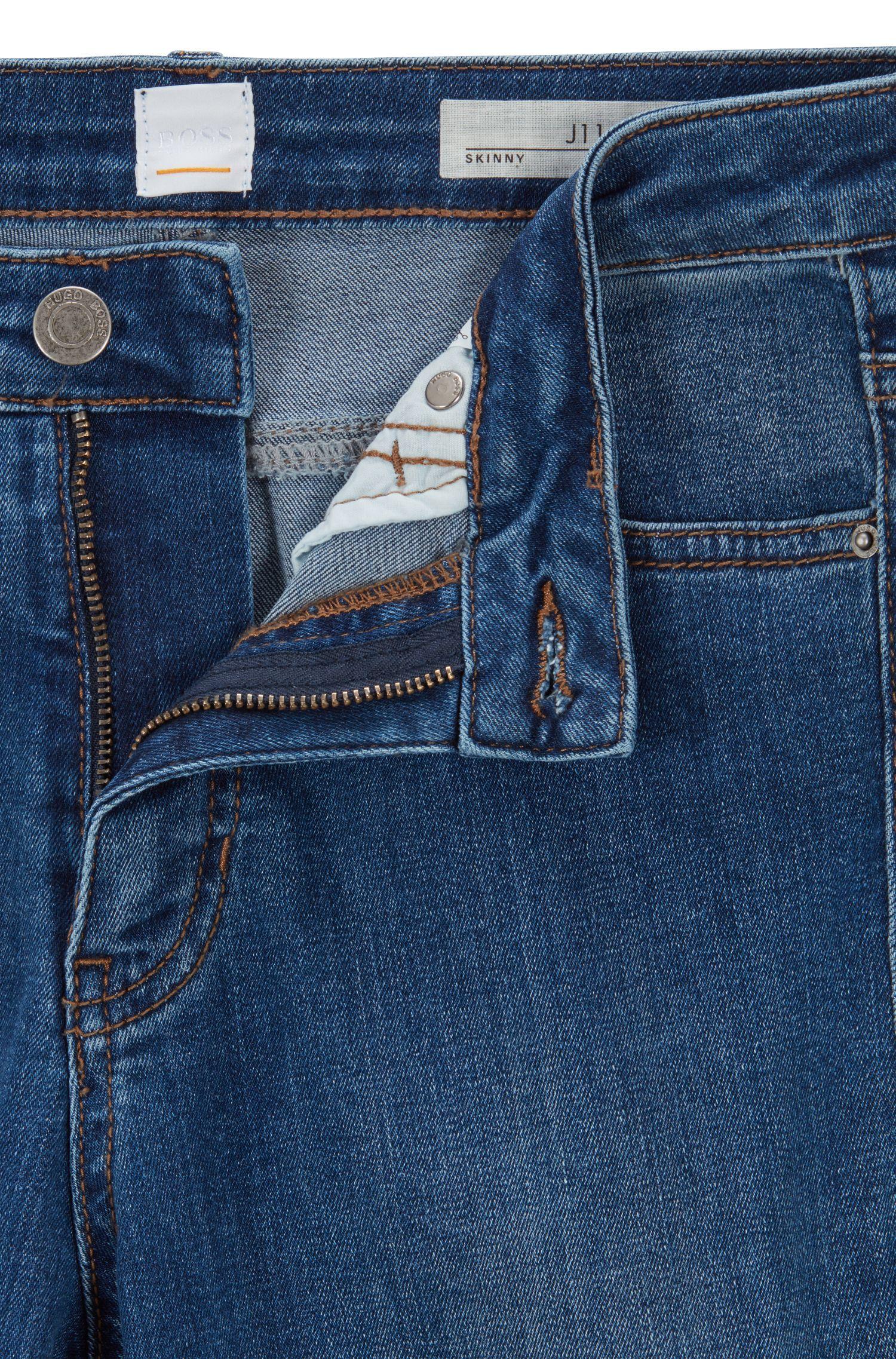 Jean raccourci Skinny Fit en denim power-stretch bleu, Bleu