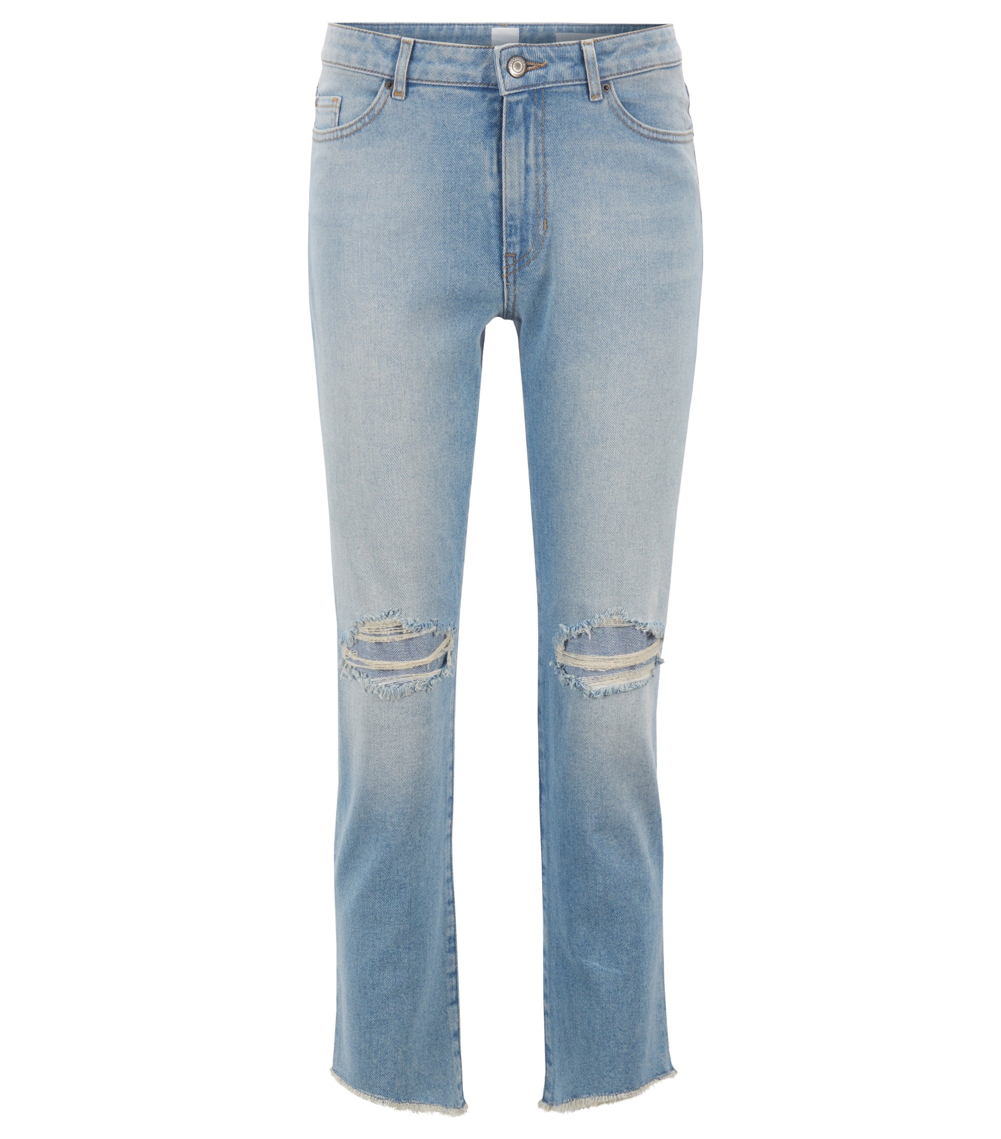 Regular-Fit Cropped-Jeans aus komfortablem Stretch-Denim mit unversäuberten Säumen, Türkis