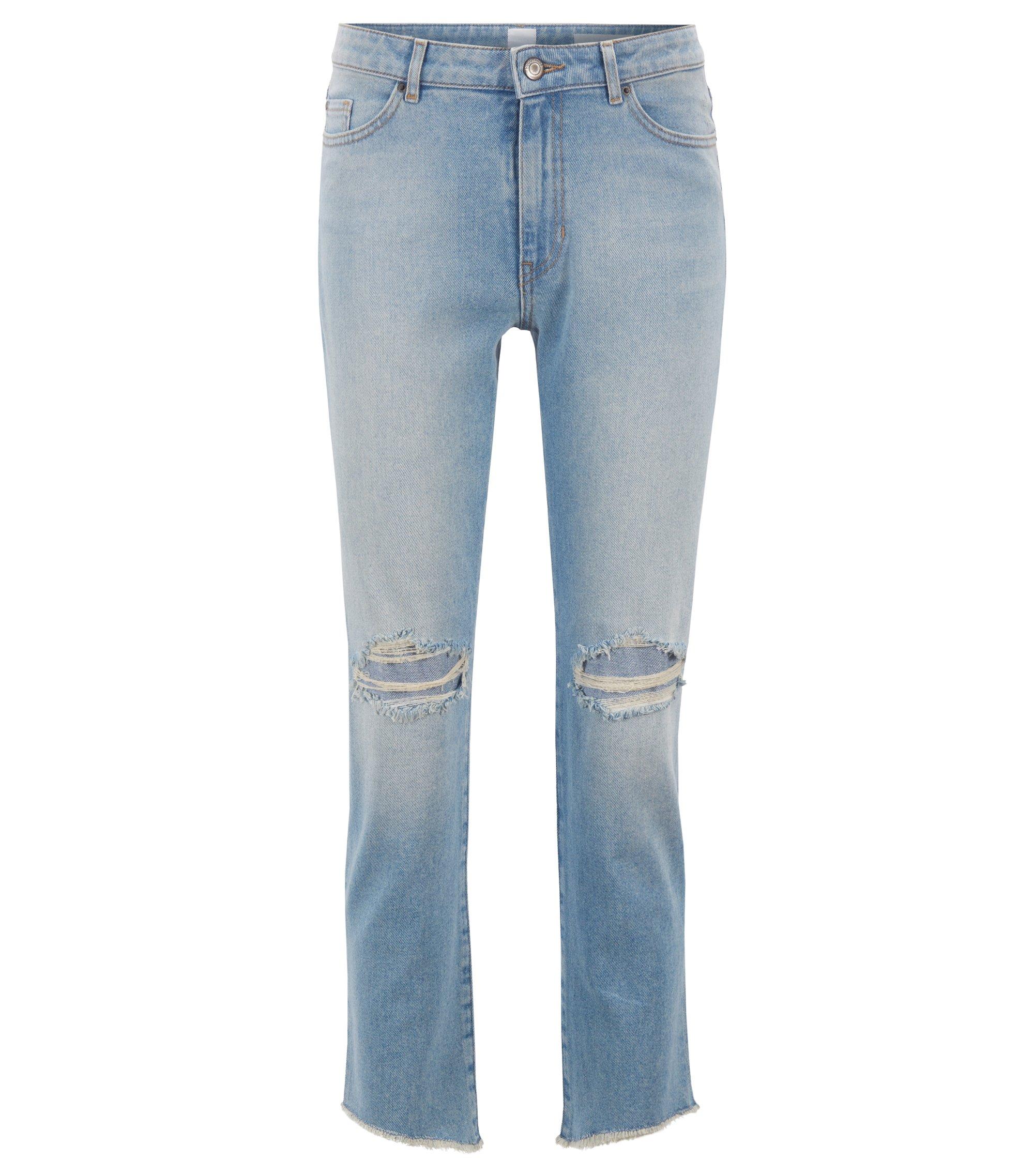 Kortere jeans van comfortabel stretchdenim met onafgewerkte zomen, Turkoois