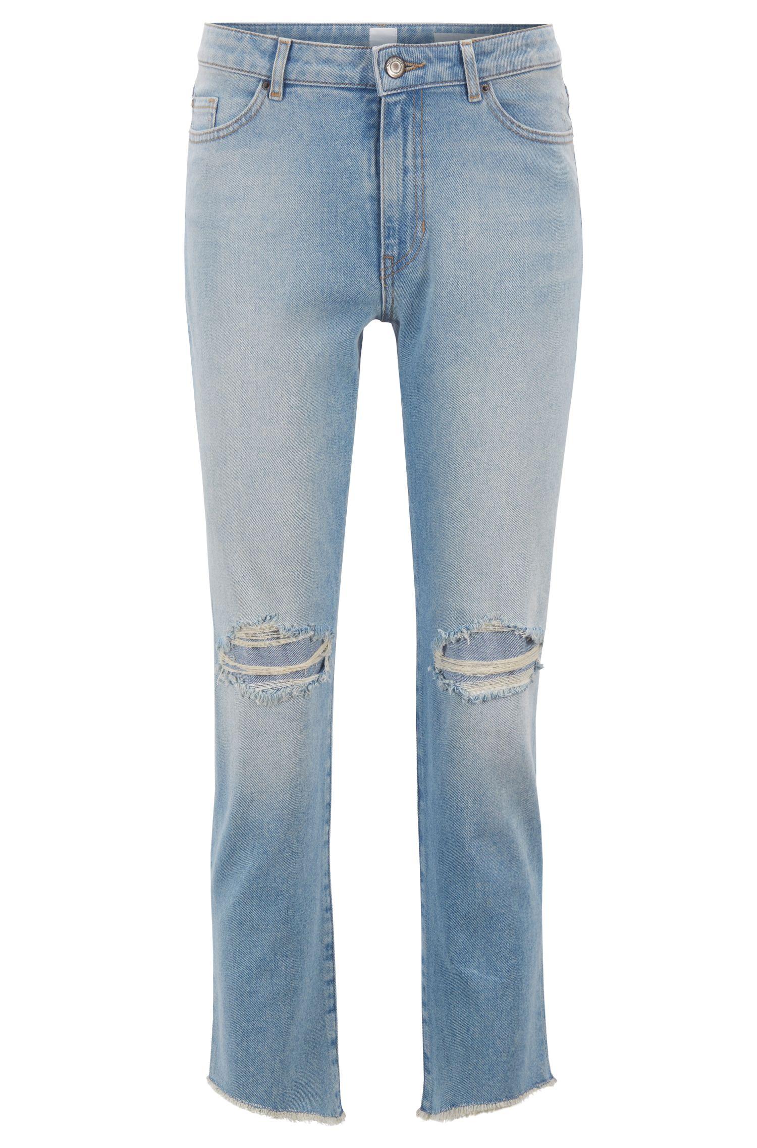 Jeans alla caviglia in comodo denim elasticizzato con orli aperti, Turchese