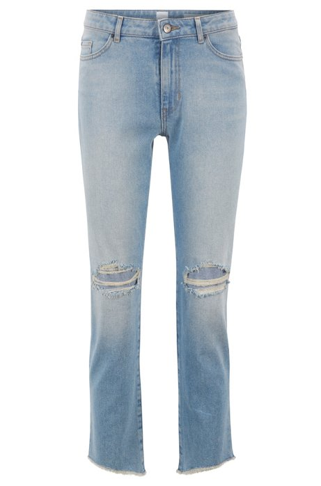 7bab3076ea BOSS - Cropped jeans in comfort-stretch denim with open hems