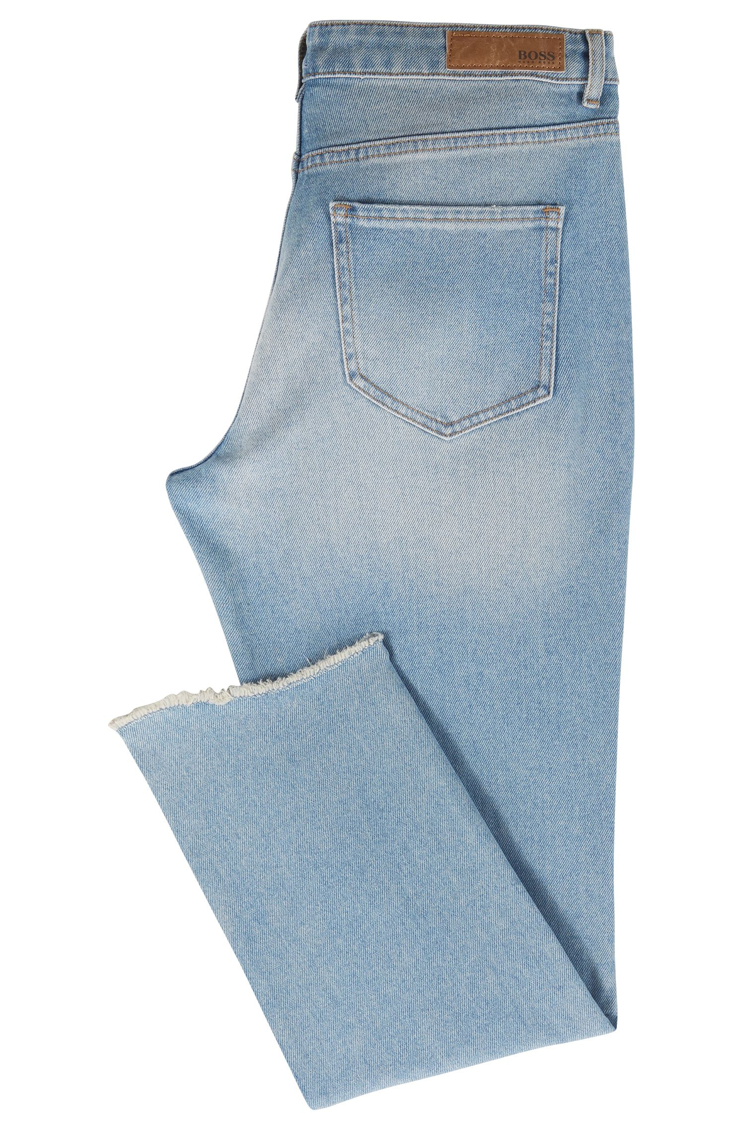 Cropped jeans in comfort-stretch denim with open hems, Turquoise