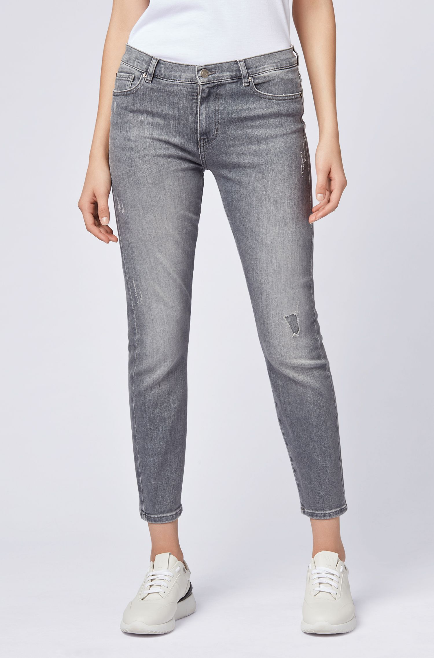 Jean Slim Fit en denim gris, Gris