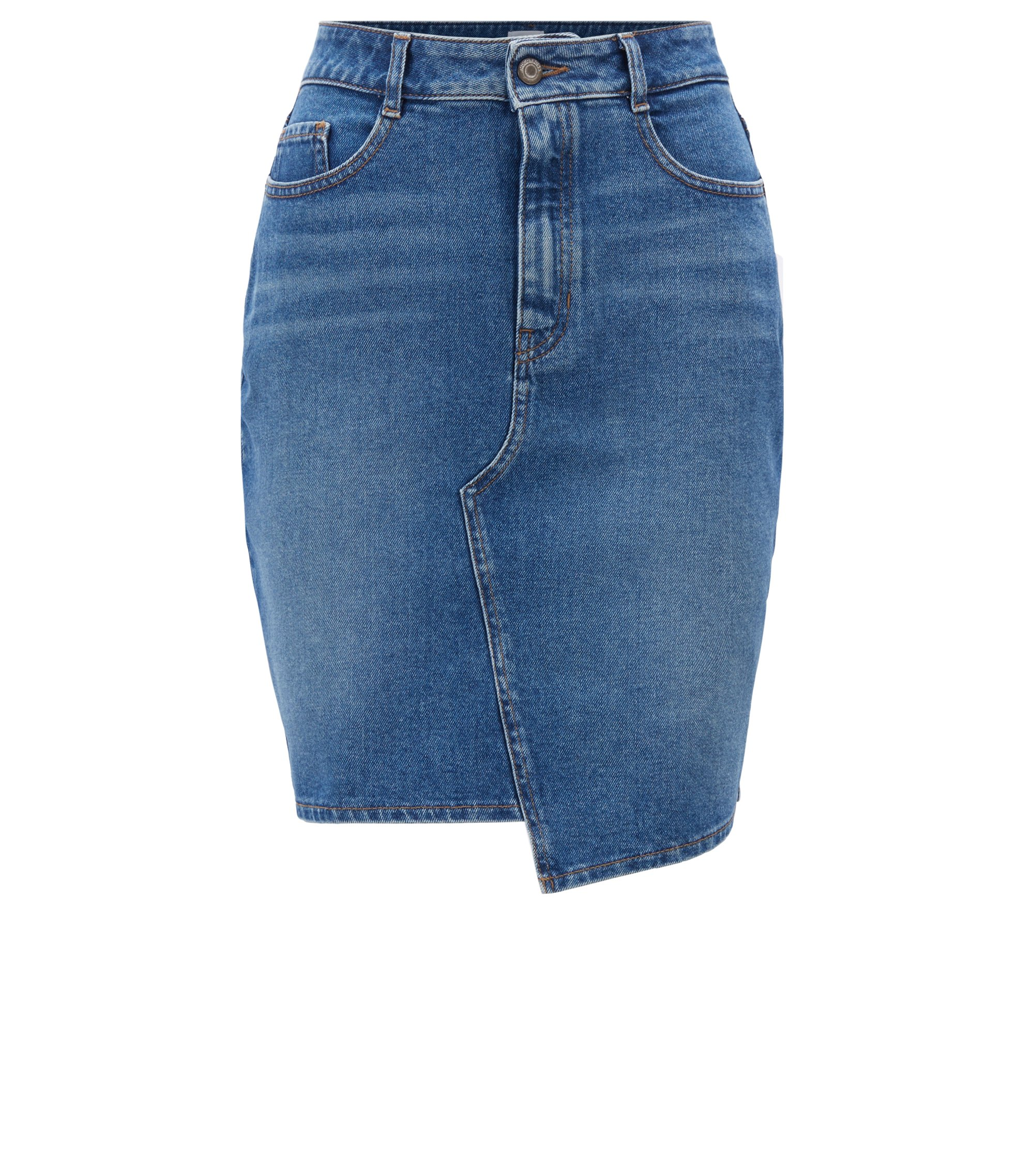 A-line denim skirt with irregular hem, Blau