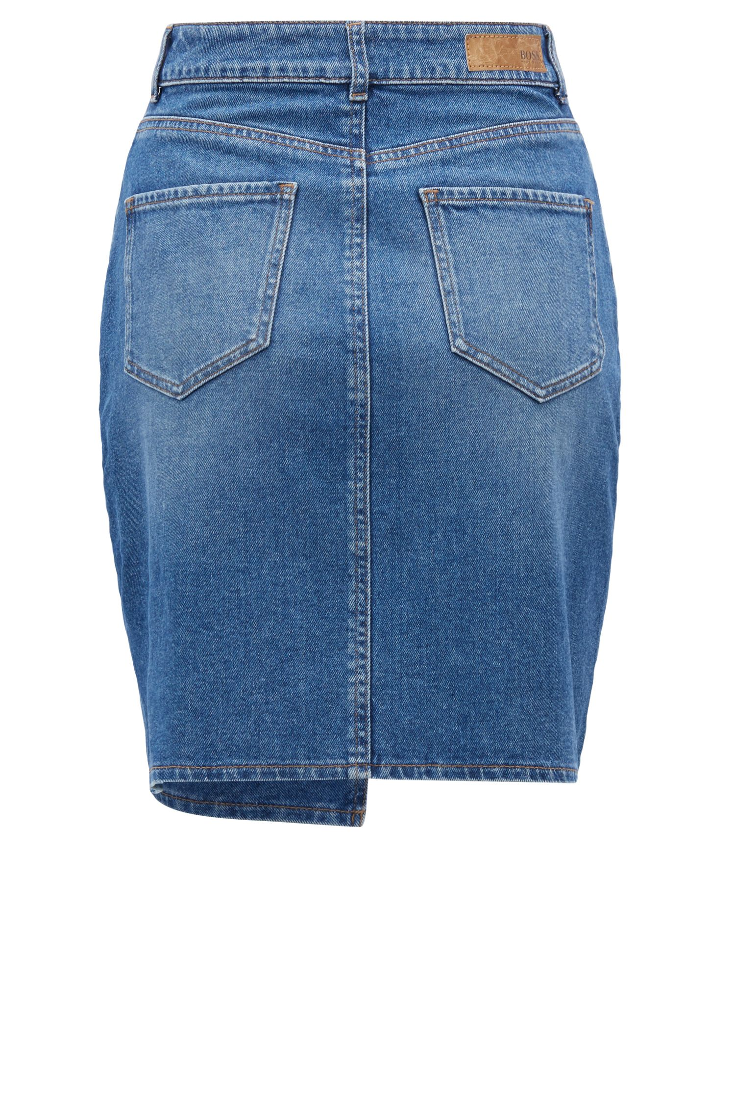 Gonna in denim dalla linea svasata con orlo irregolare, Blu