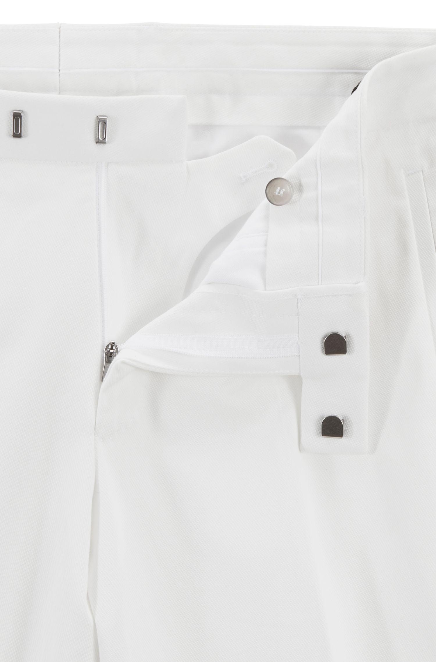 Pantaloni sartoriali slim fit in cotone elasticizzato, Bianco